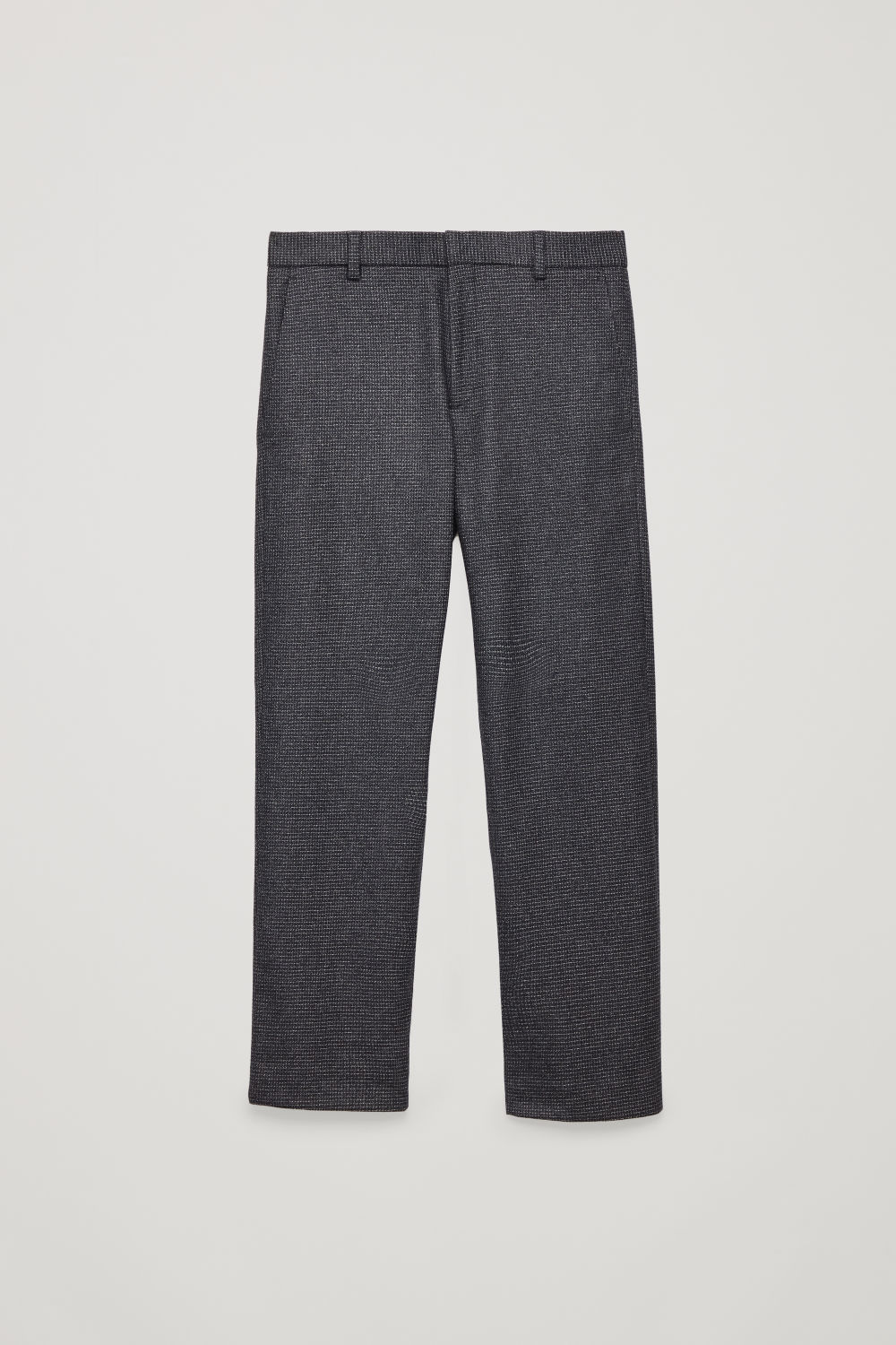 Front image of Cos checked wool trousers in blue