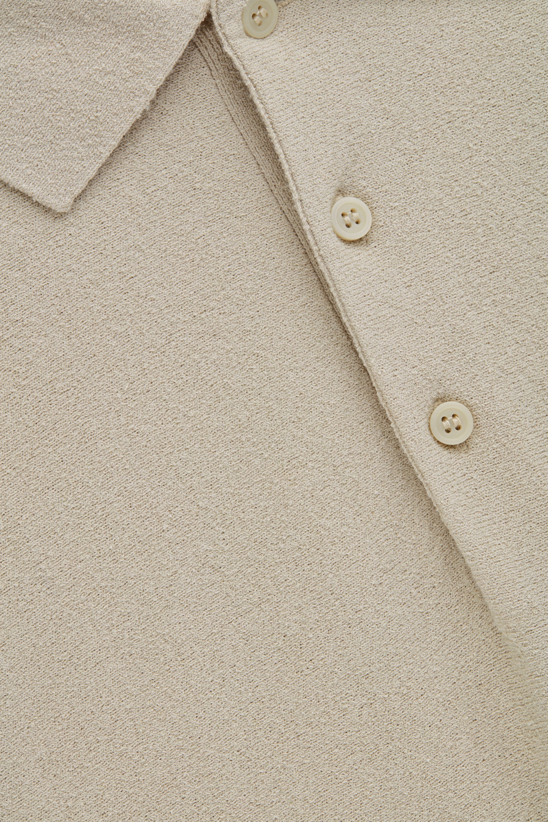 Side image of Cos towelling-cotton polo shirt in beige