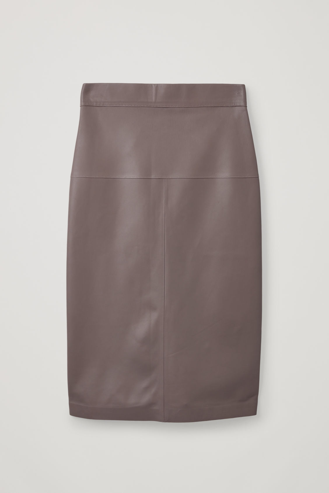 Front image of Cos straight leather skirt  in purple