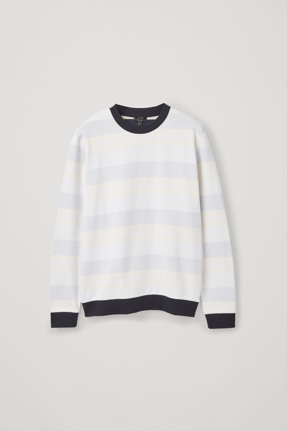Front image of Cos relaxed muted-stripe jumper in beige