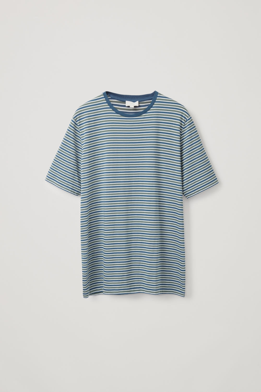 Front image of Cos multi-striped cotton t-shirt in blue