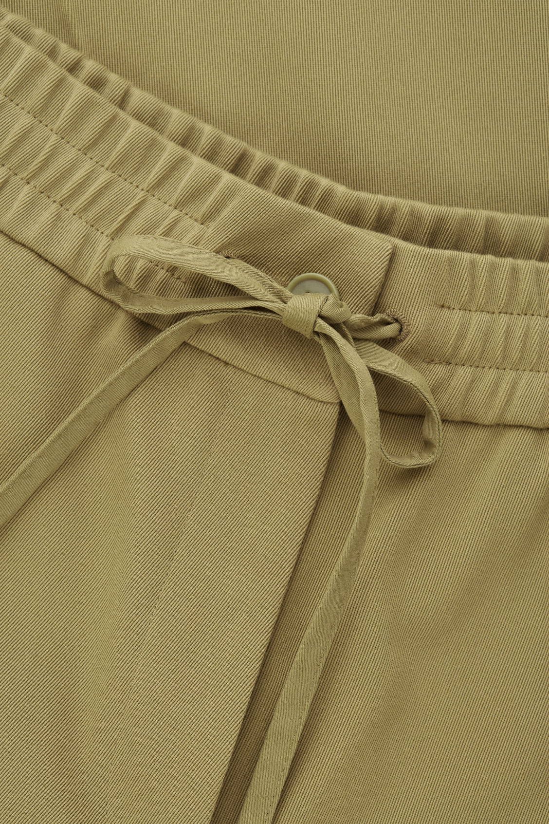 Side image of Cos wide-leg drawstring trousers in green