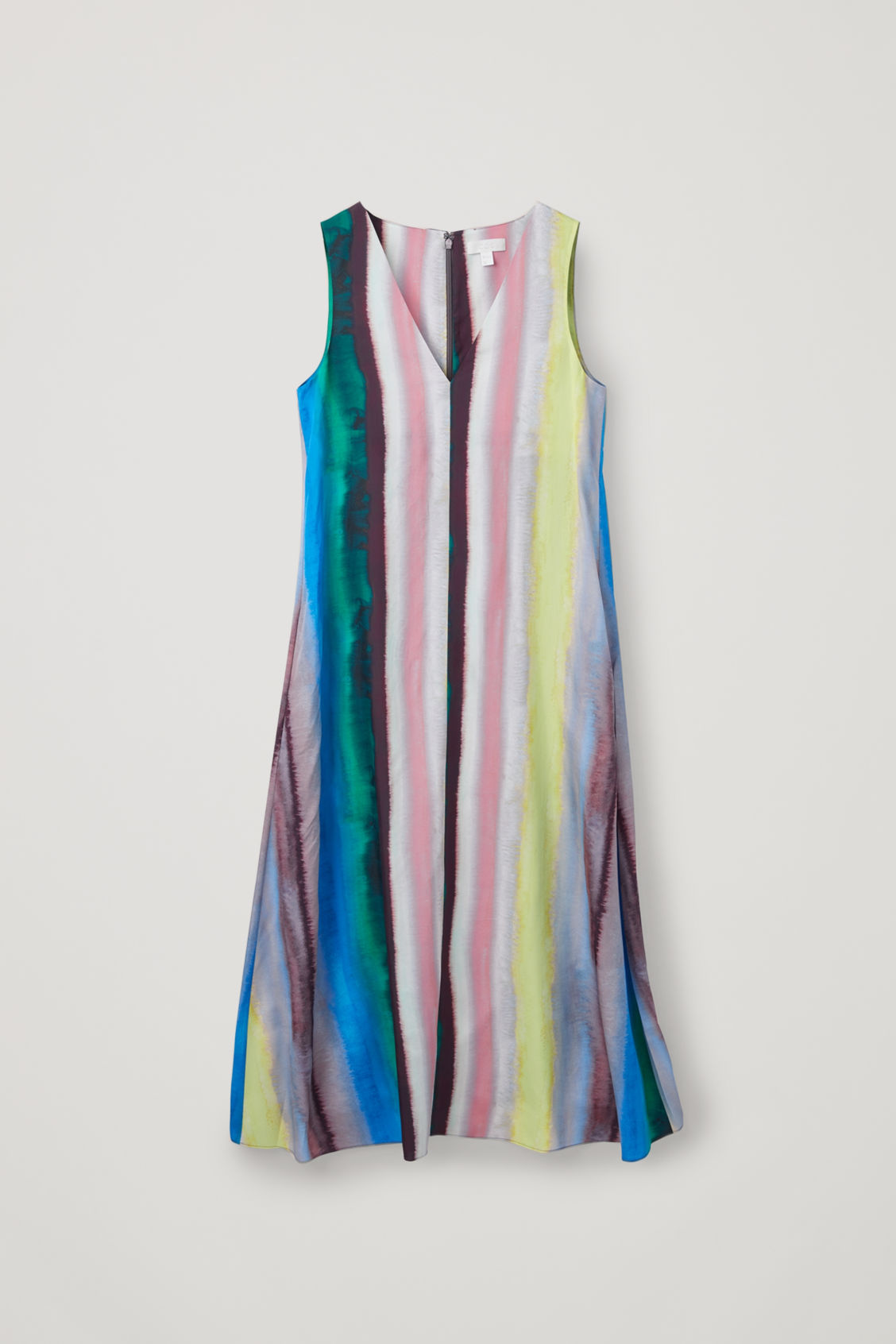 Front image of Cos multicoloured sleeveless dress in green