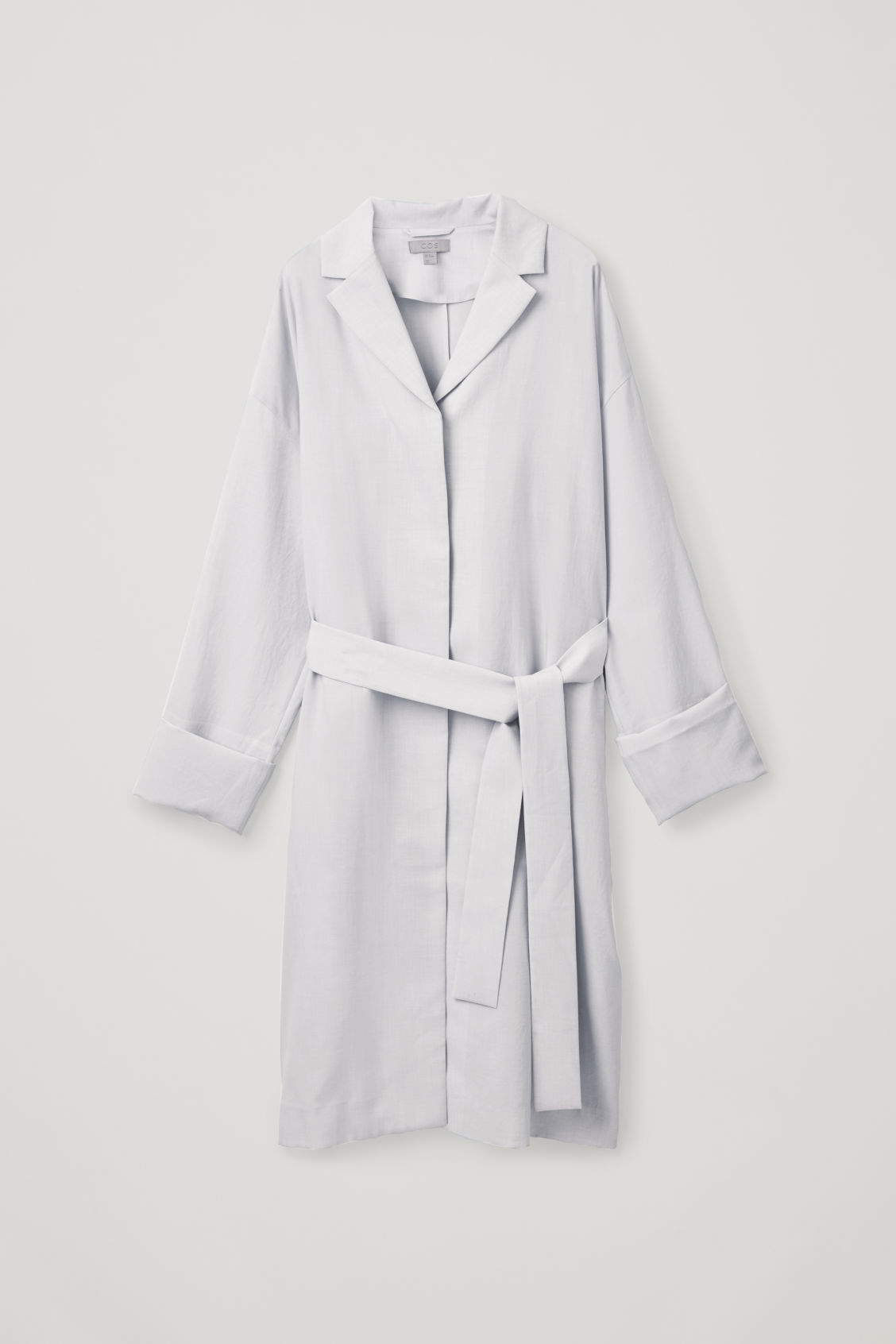 Front image of Cos belted duster coat in grey