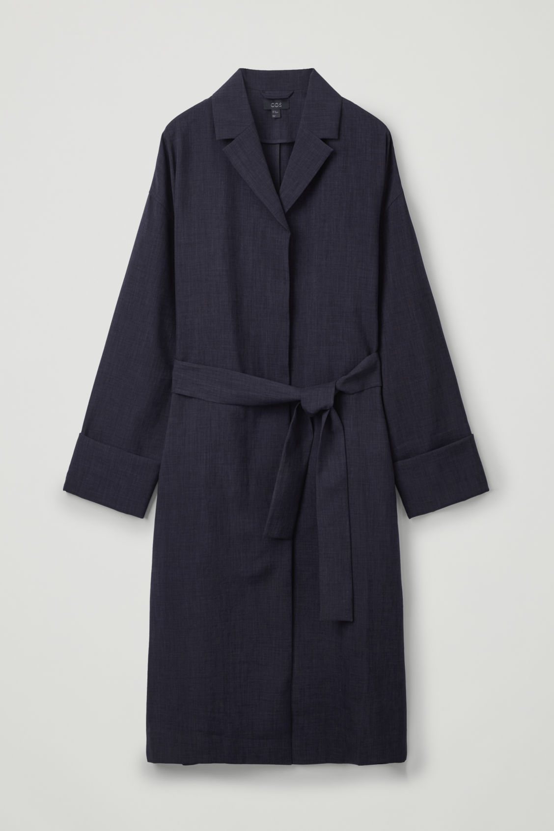 Front image of Cos belted duster coat in blue
