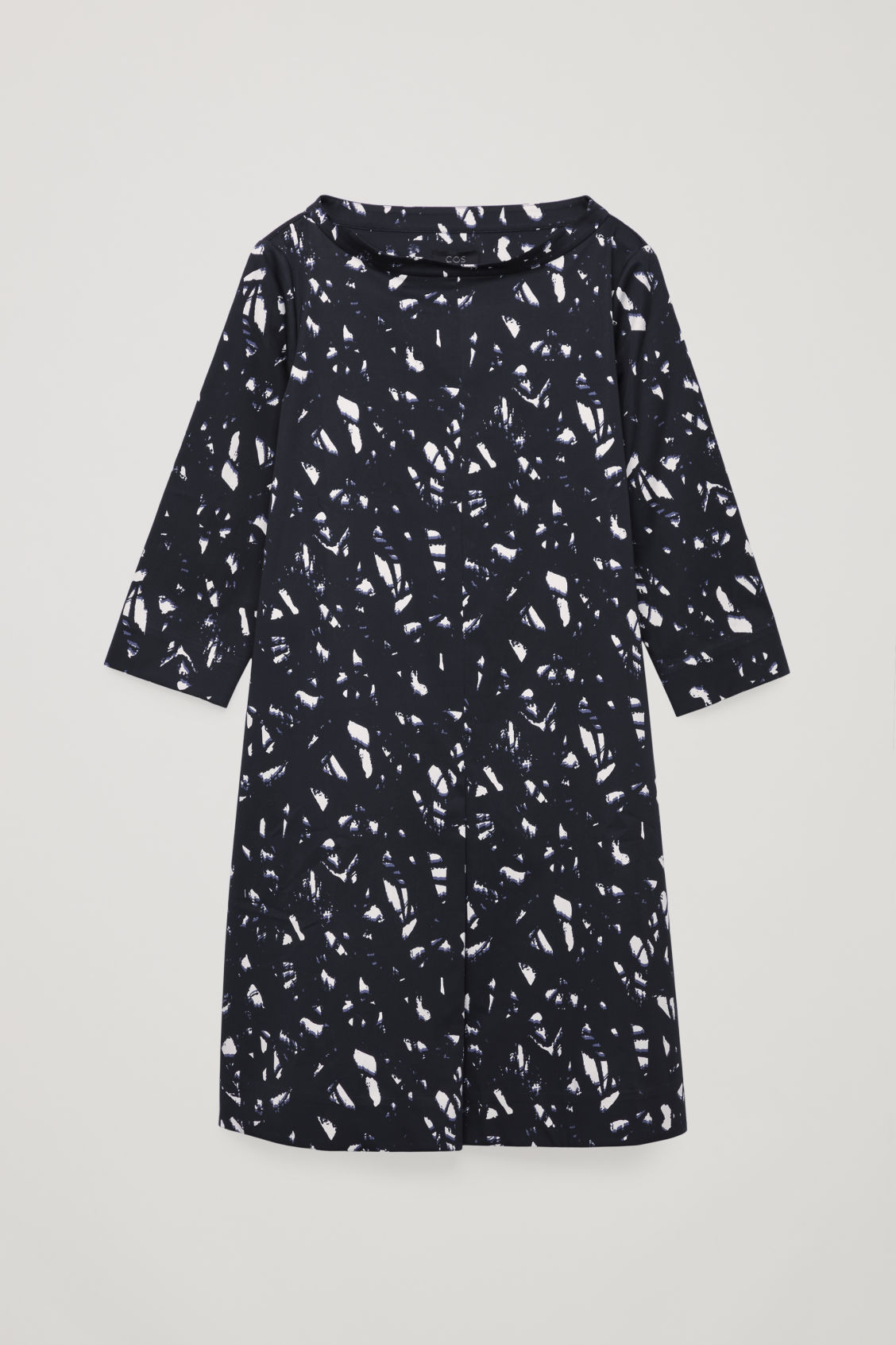 Front image of Cos printed raised-collar dress in black