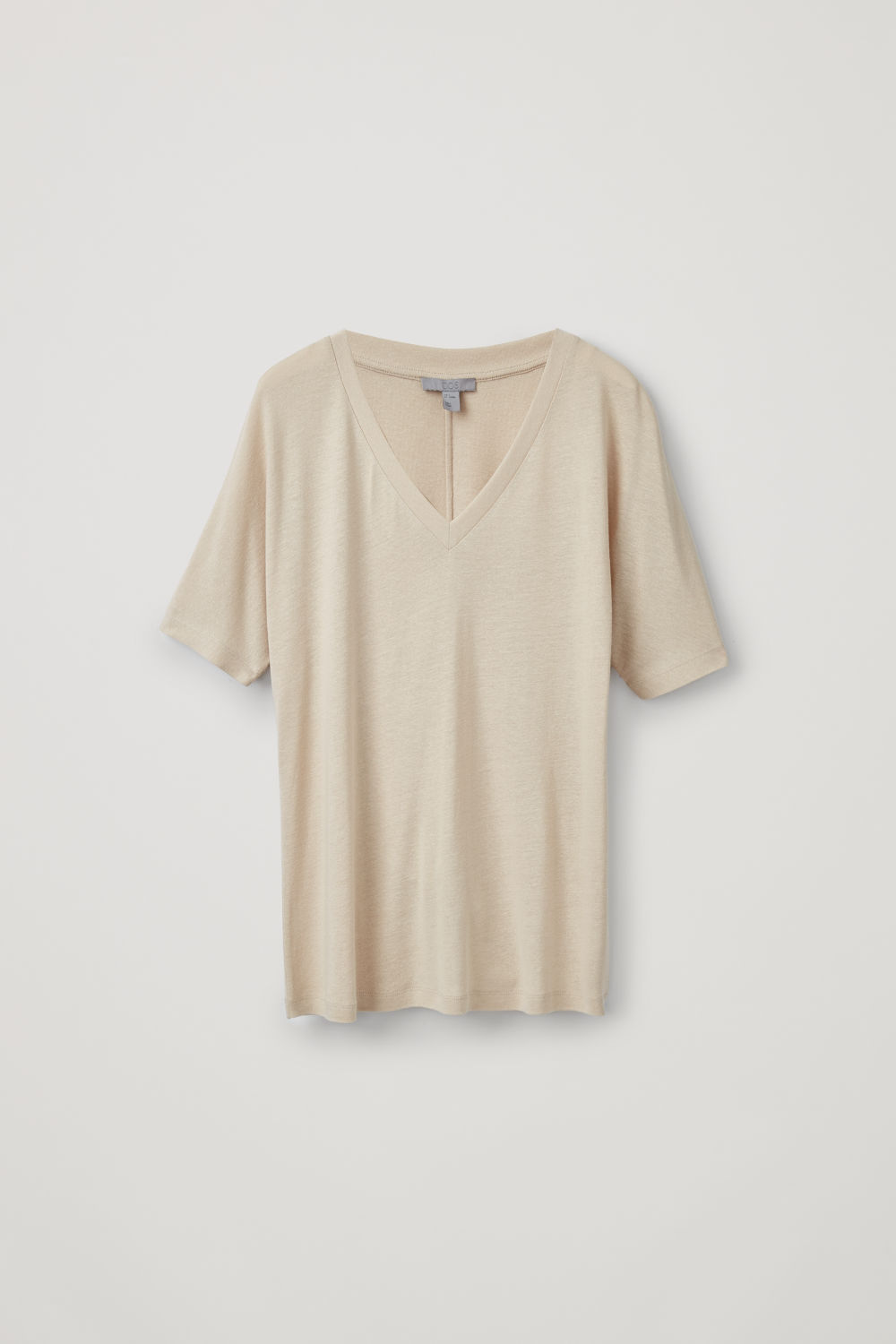 Front image of Cos lightweight v-neck top  in beige