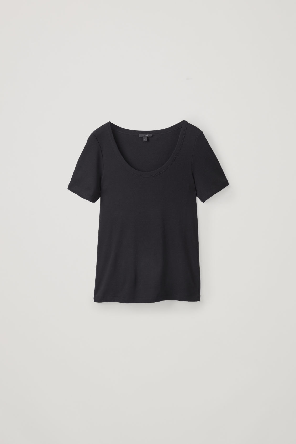 Front image of Cos deep round-neck cotton top  in black