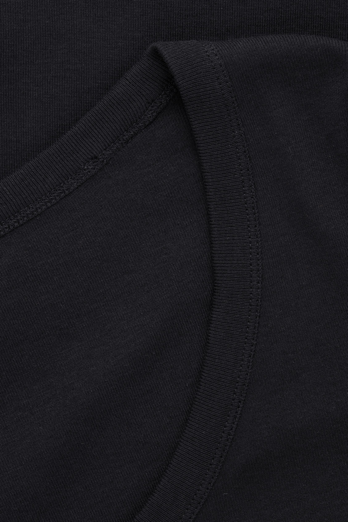 Side image of Cos deep round-neck cotton top  in black