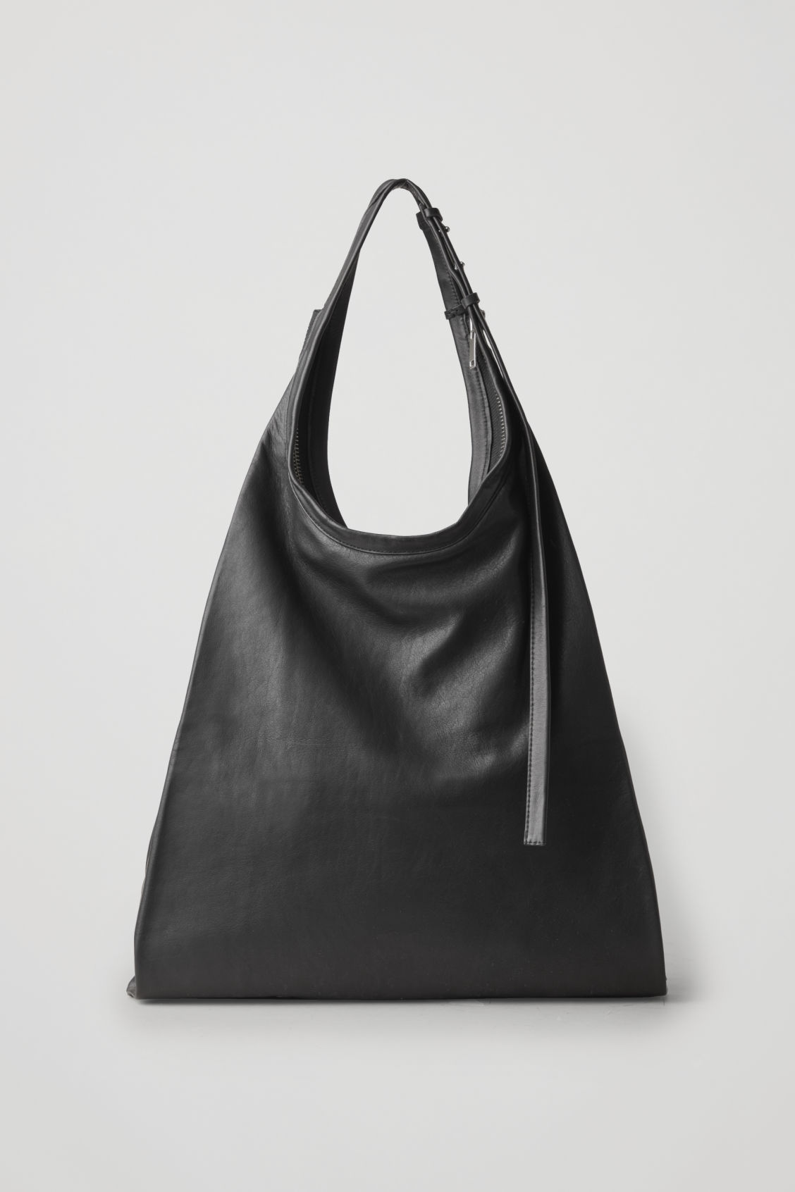 Front image of Cos leather shopper bag  in black