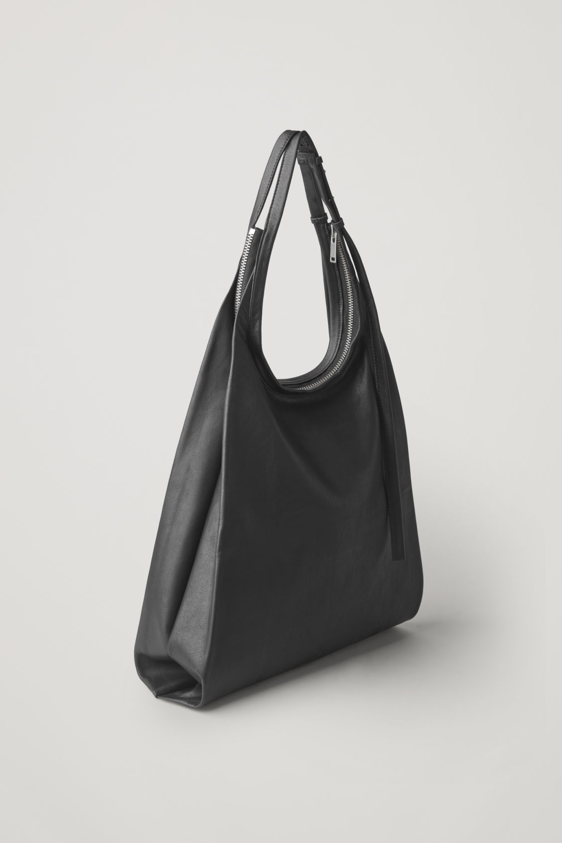 Side image of Cos leather shopper bag  in black