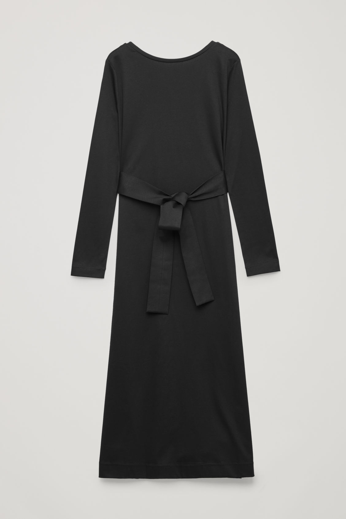 Front image of Cos belted long jersey dress in black