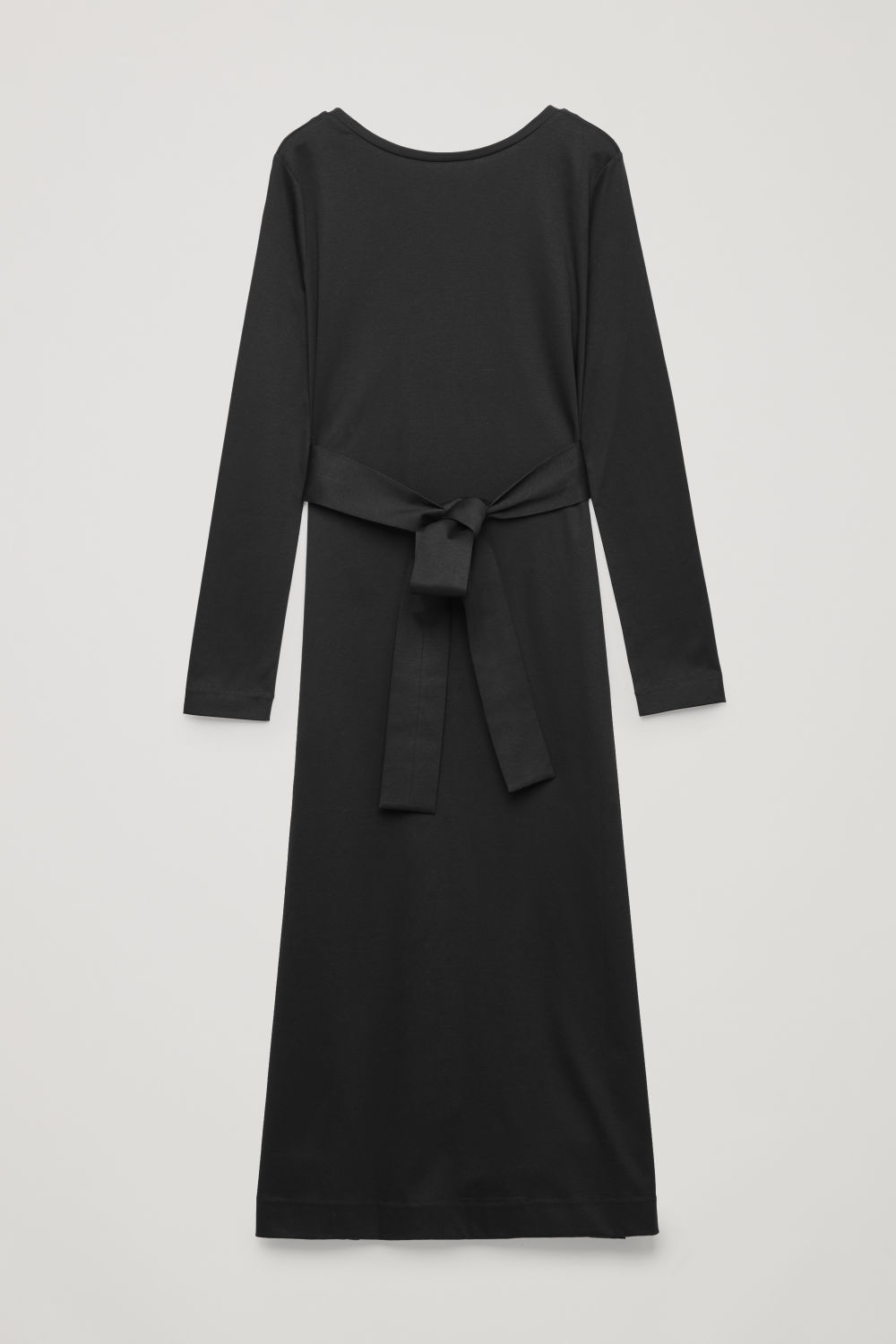 BELTED LONG JERSEY DRESS