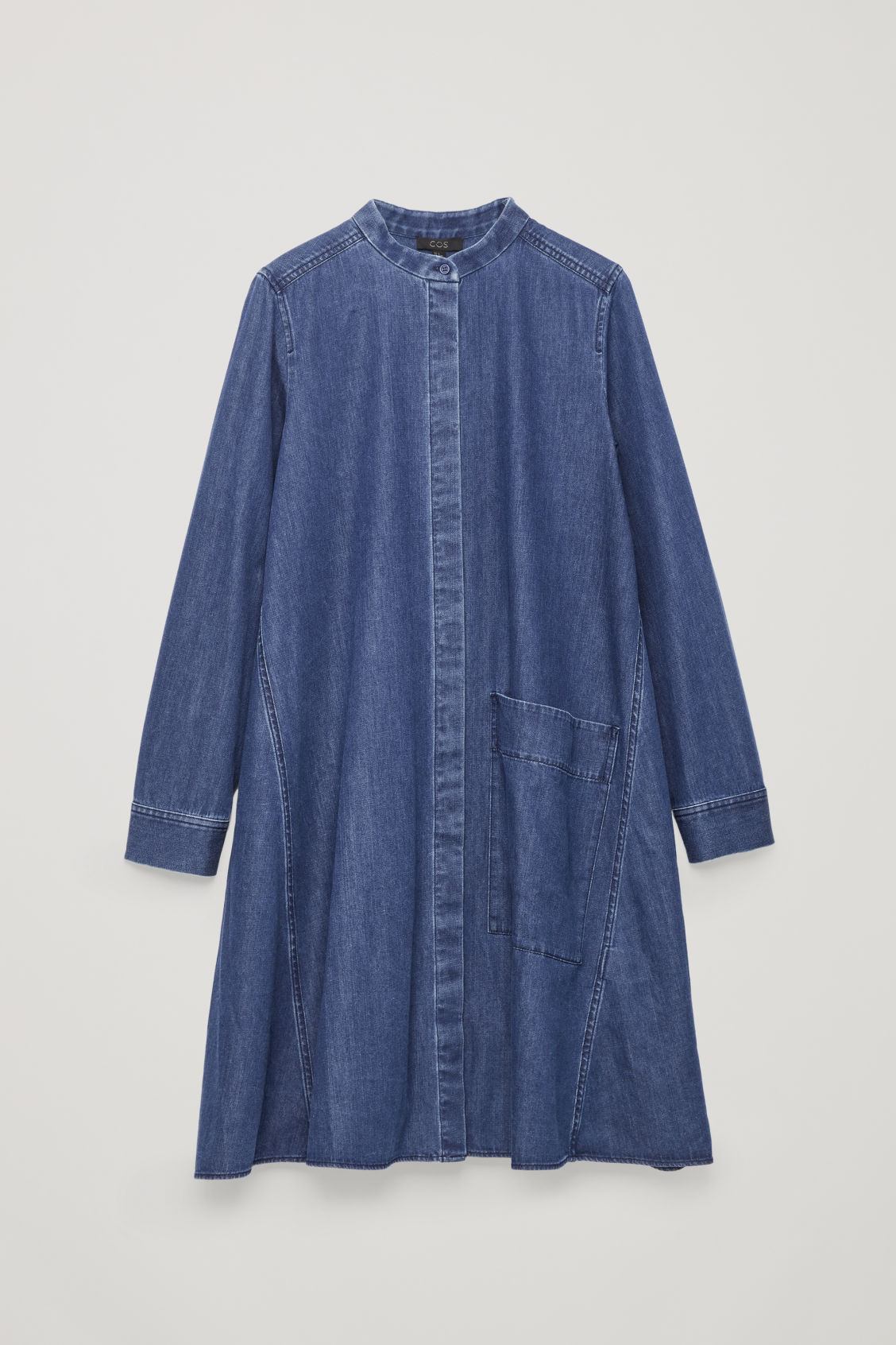 Front image of Cos denim a-line dress in blue