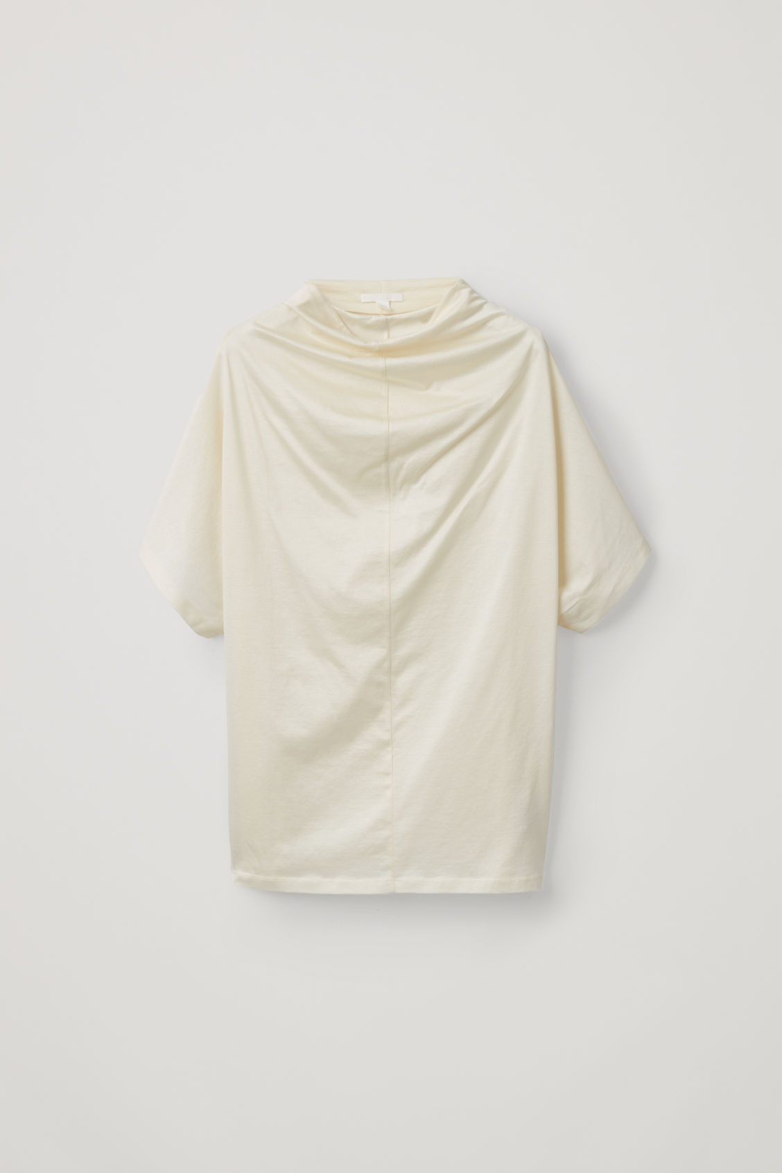 Front image of Cos draped-neck cotton t-shirt in yellow