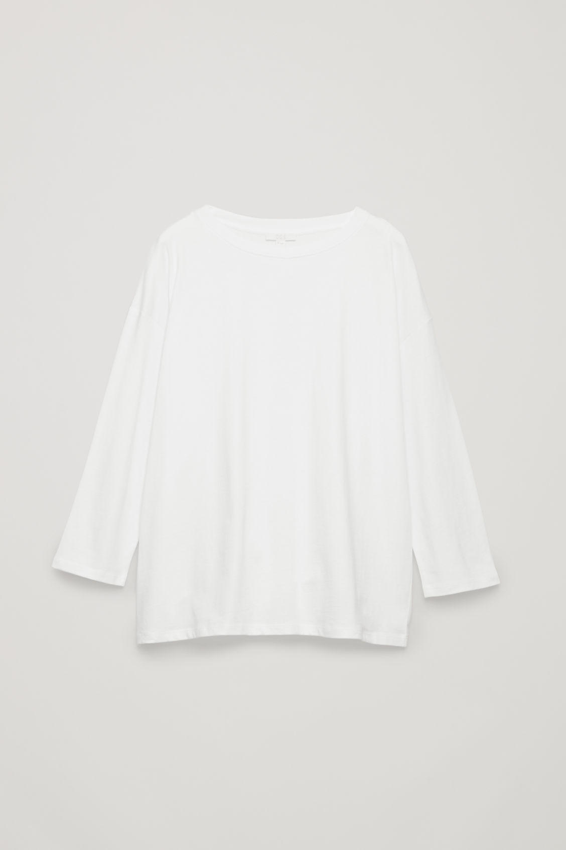 Front image of Cos boxy long-sleeved cotton top  in white
