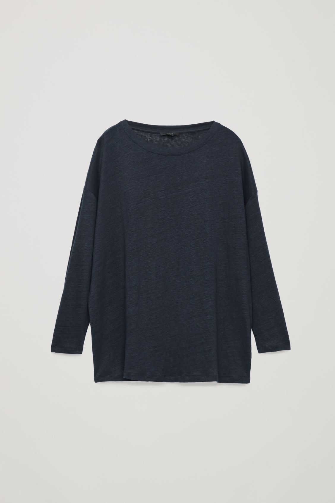 Front image of Cos boxy linen-jersey top in blue