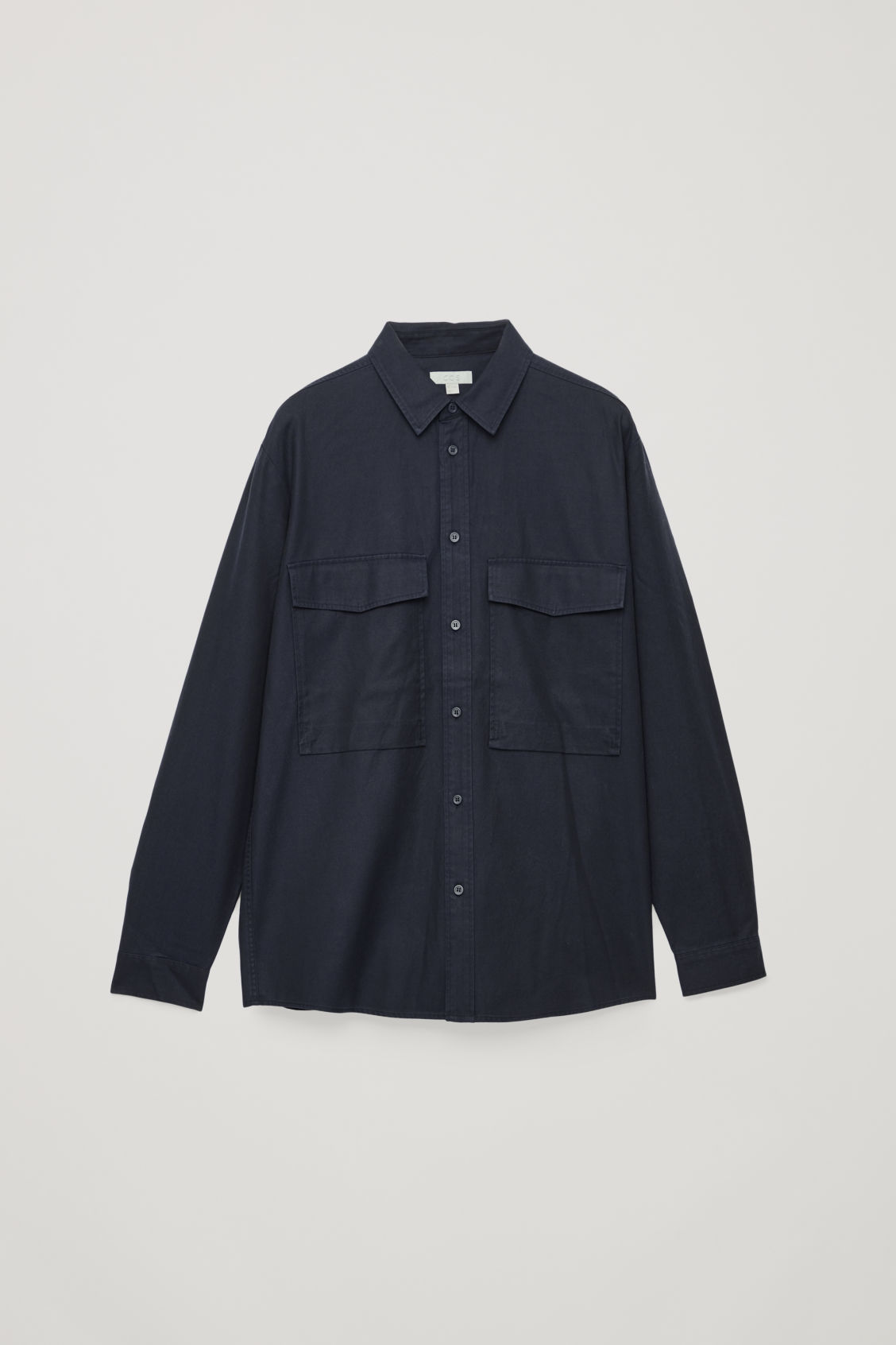 Front image of Cos relaxed two-pocket shirt in blue