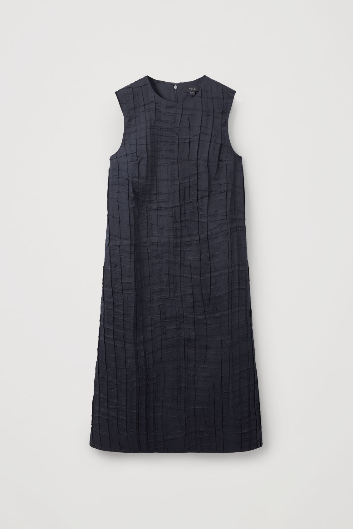 Front image of Cos sleeveless pleated dress in blue