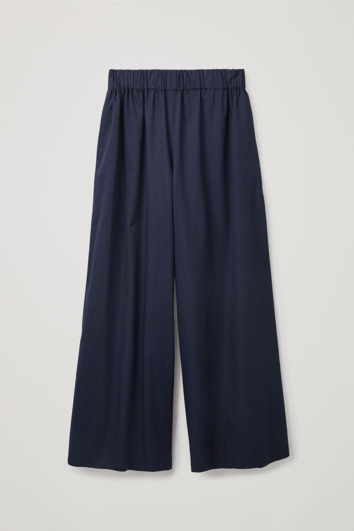 Front image of Cos elastic-waist wide-leg trousers in blue