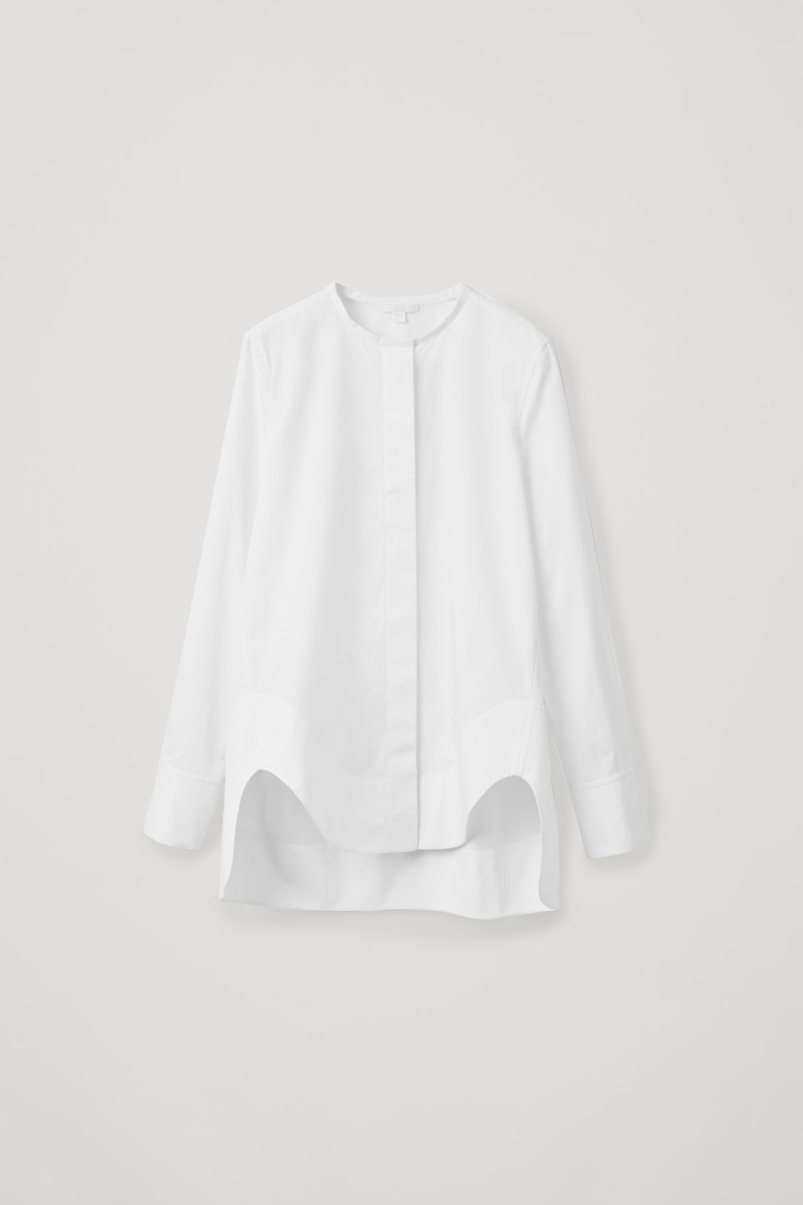 Front image of Cos cocoon grandad-collared shirt in white