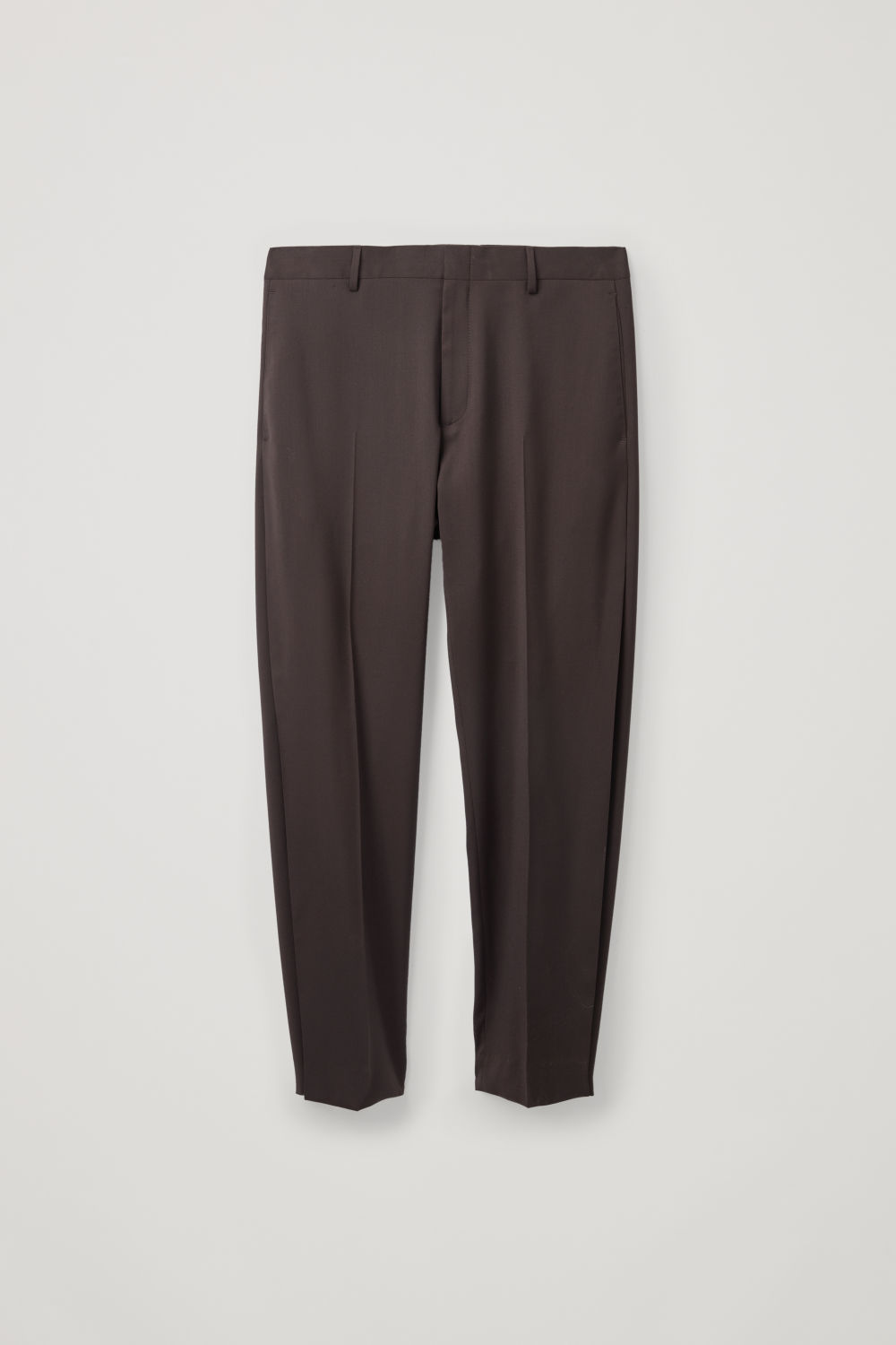 Front image of Cos relaxed tailored trousers in brown