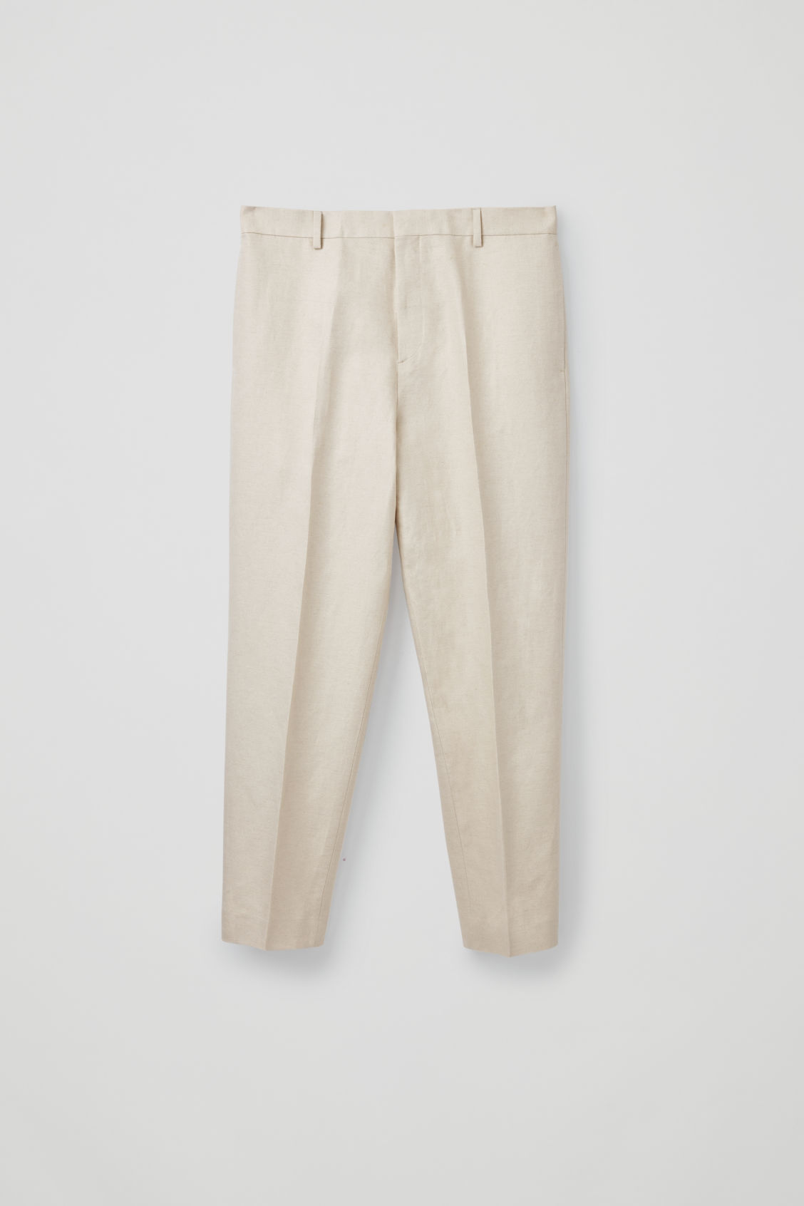 Front image of Cos straight-leg linen trousers in beige