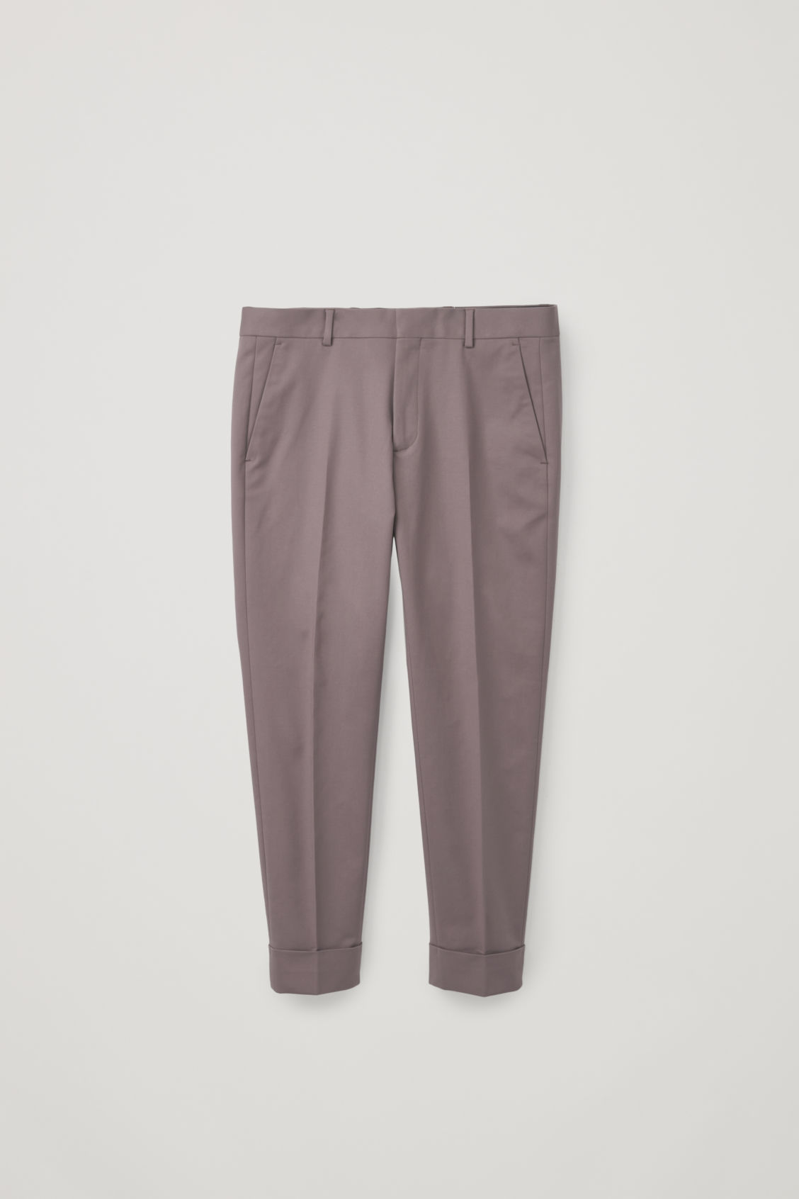 Front image of Cos skinny-leg turn-up trousers in purple