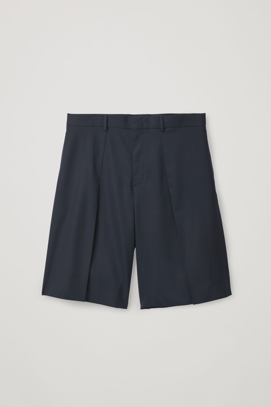 Front image of Cos pleated tailored shorts in blue