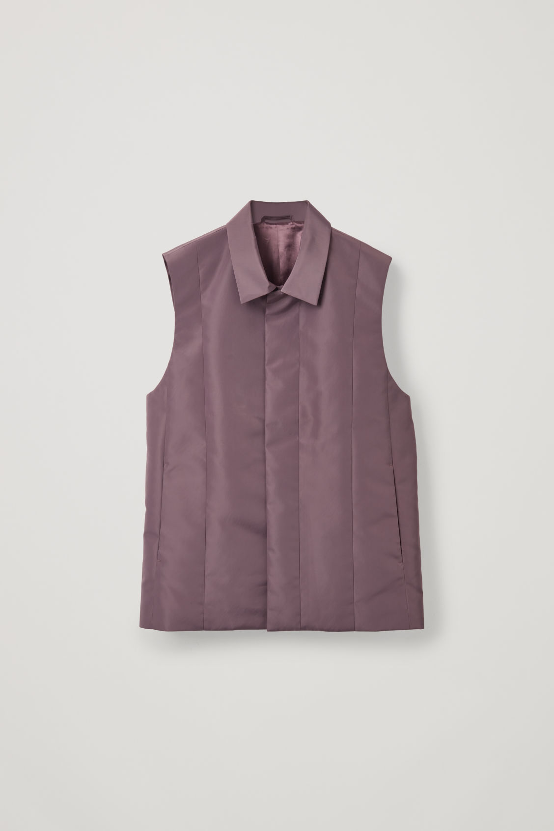 Front image of Cos panelled sleeveless jacket in purple