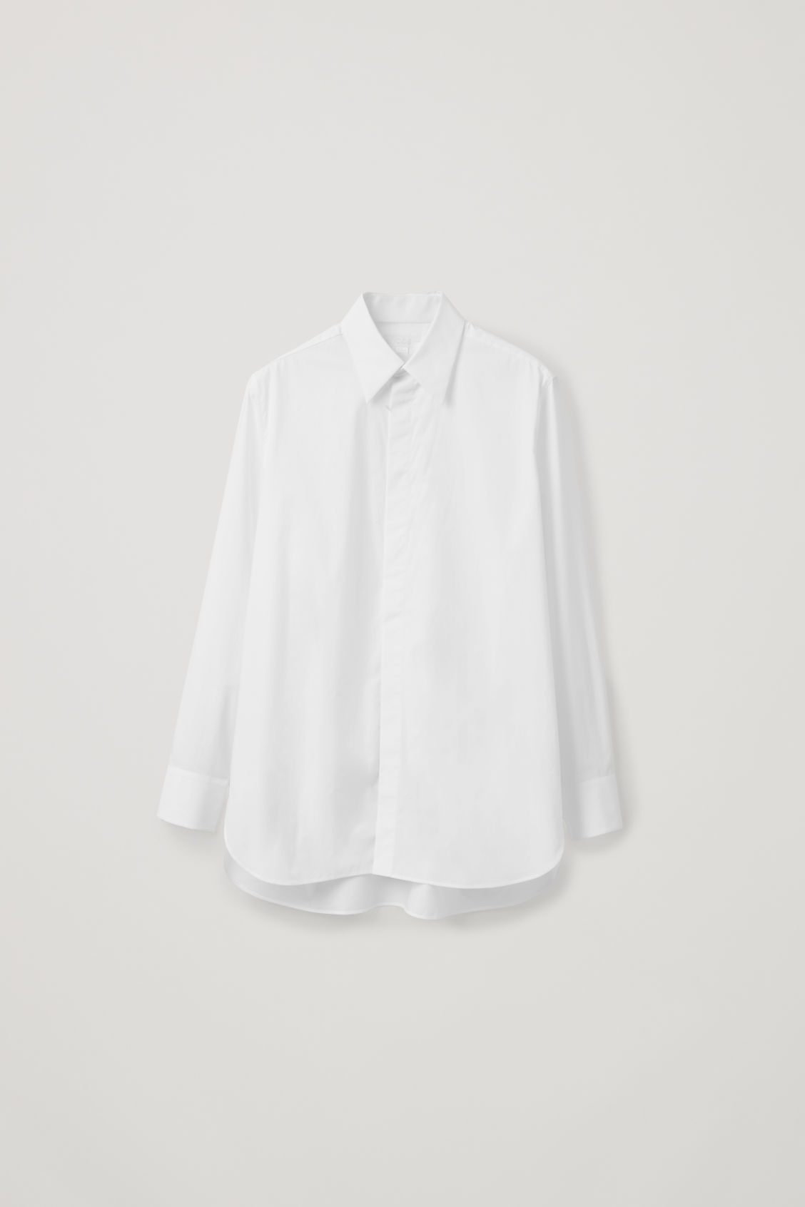 Front image of Cos concealed-button cotton shirt in white
