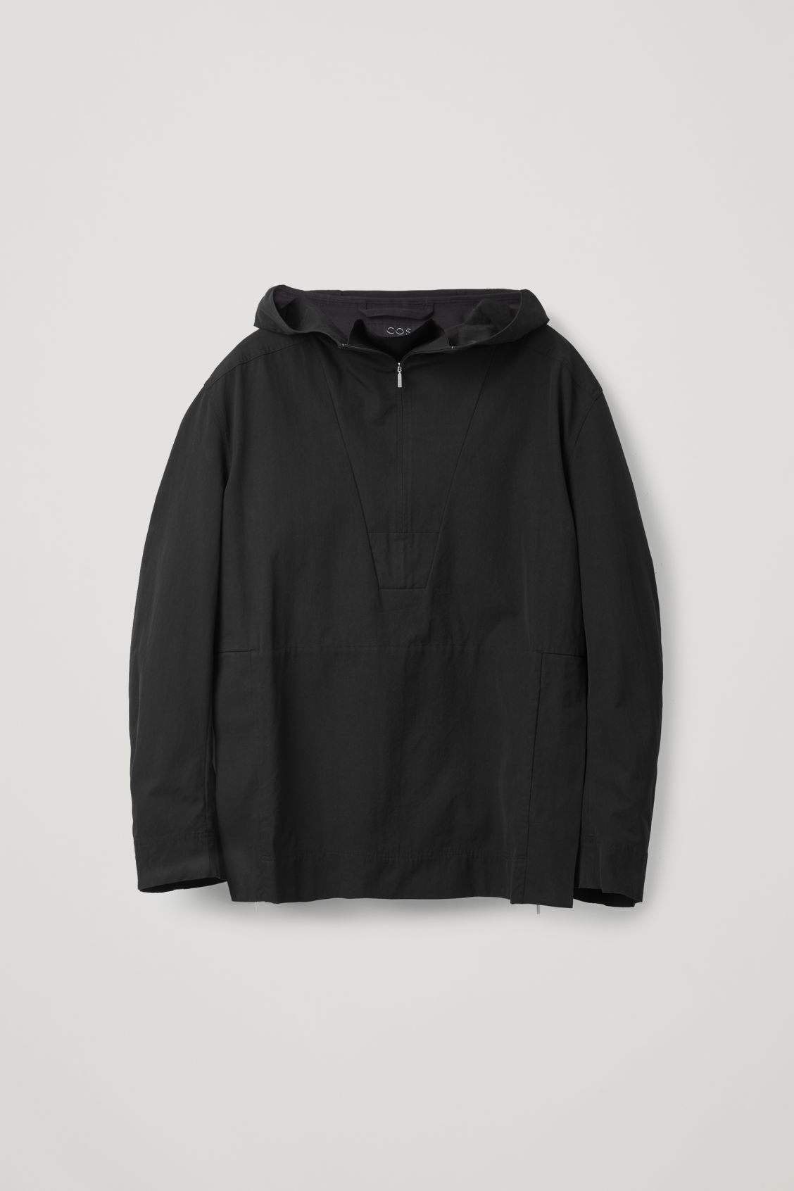 Front image of Cos lightweight pullover jacket  in black