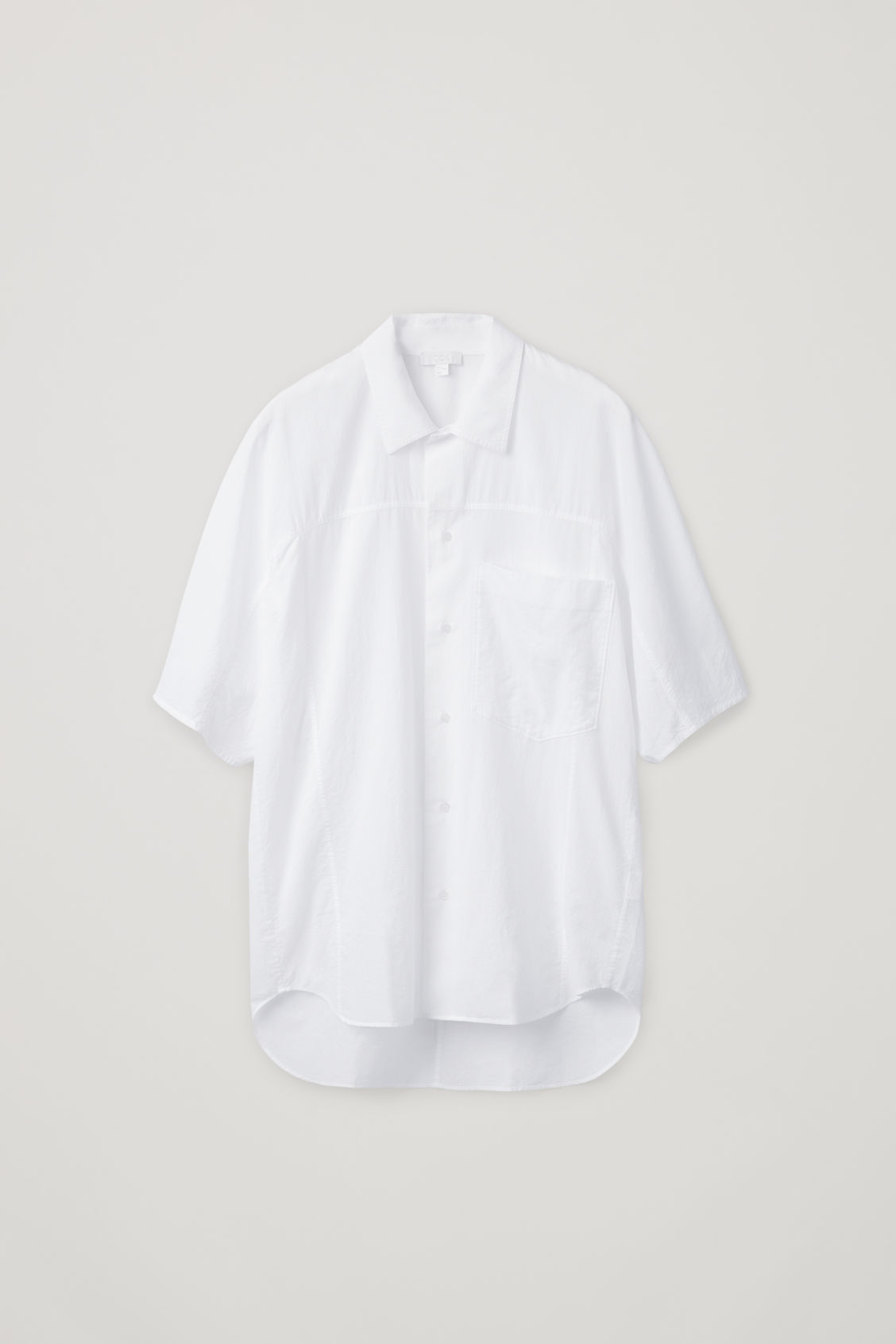 Front image of Cos oversized light cotton shirt in white
