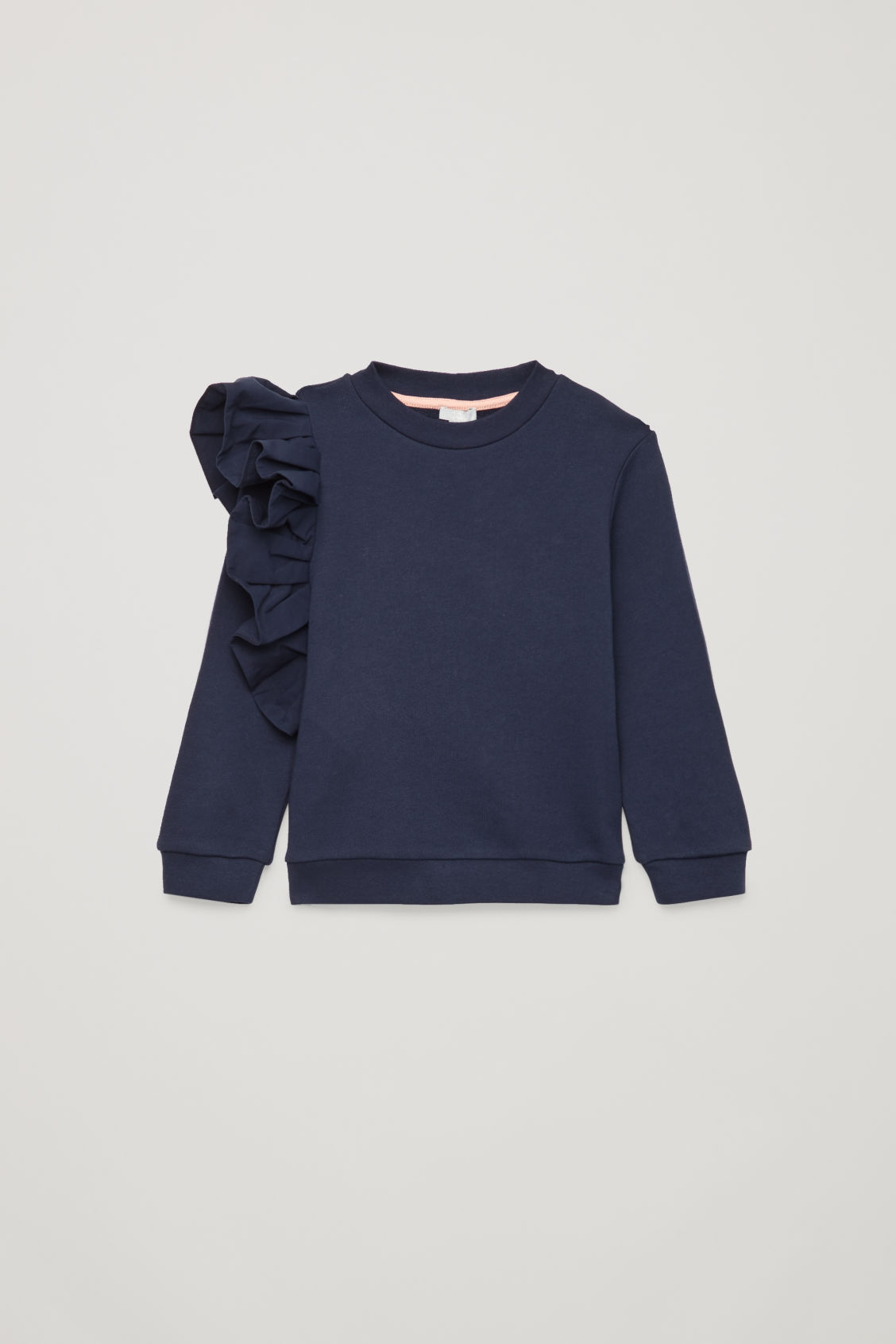 Front image of Cos frill jersey sweatshirt in blue