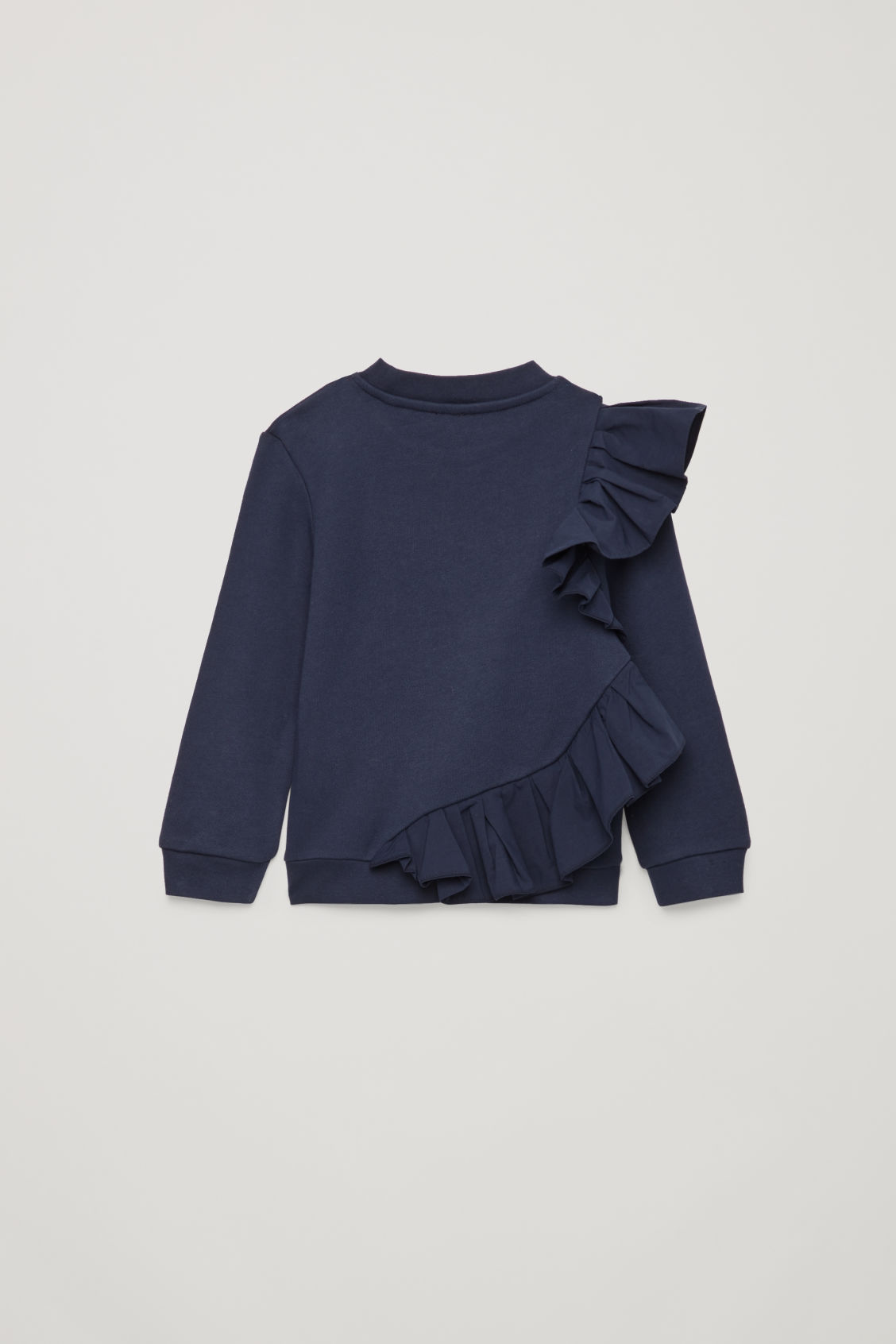 Side image of Cos frill jersey sweatshirt in blue