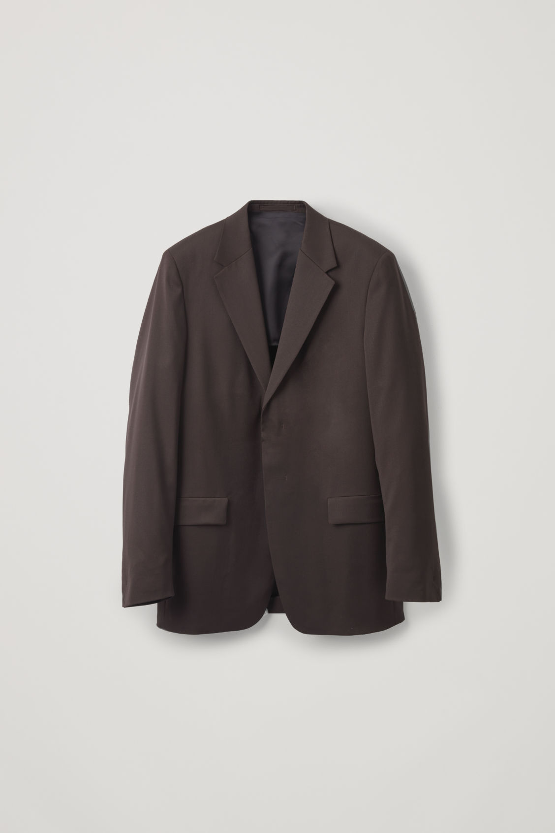 Front image of Cos relaxed blazer with hidden buttons in brown
