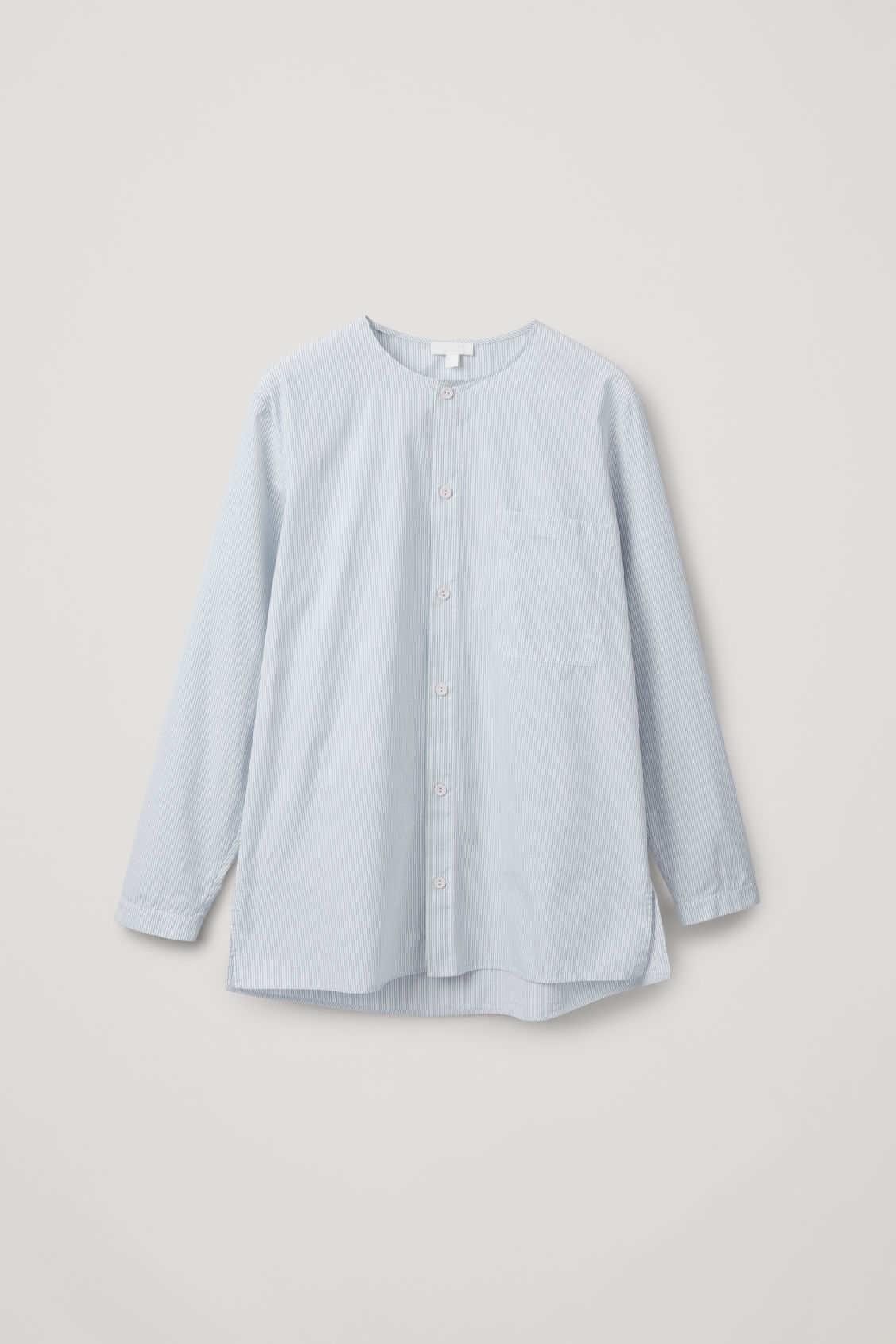 Front image of Cos tunic-style striped shirt  in white