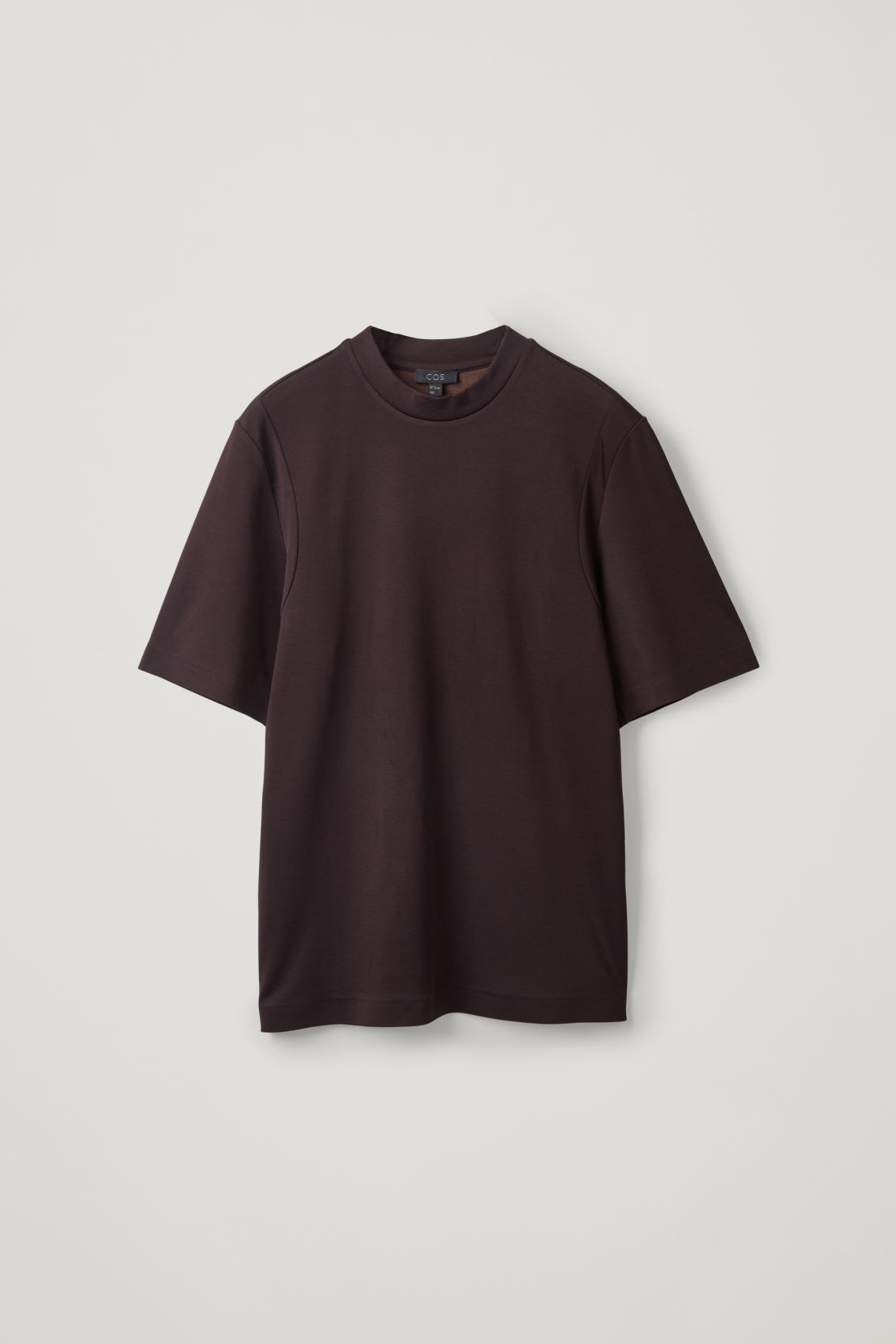 Front image of Cos jersey t-shirt with seam covers in brown
