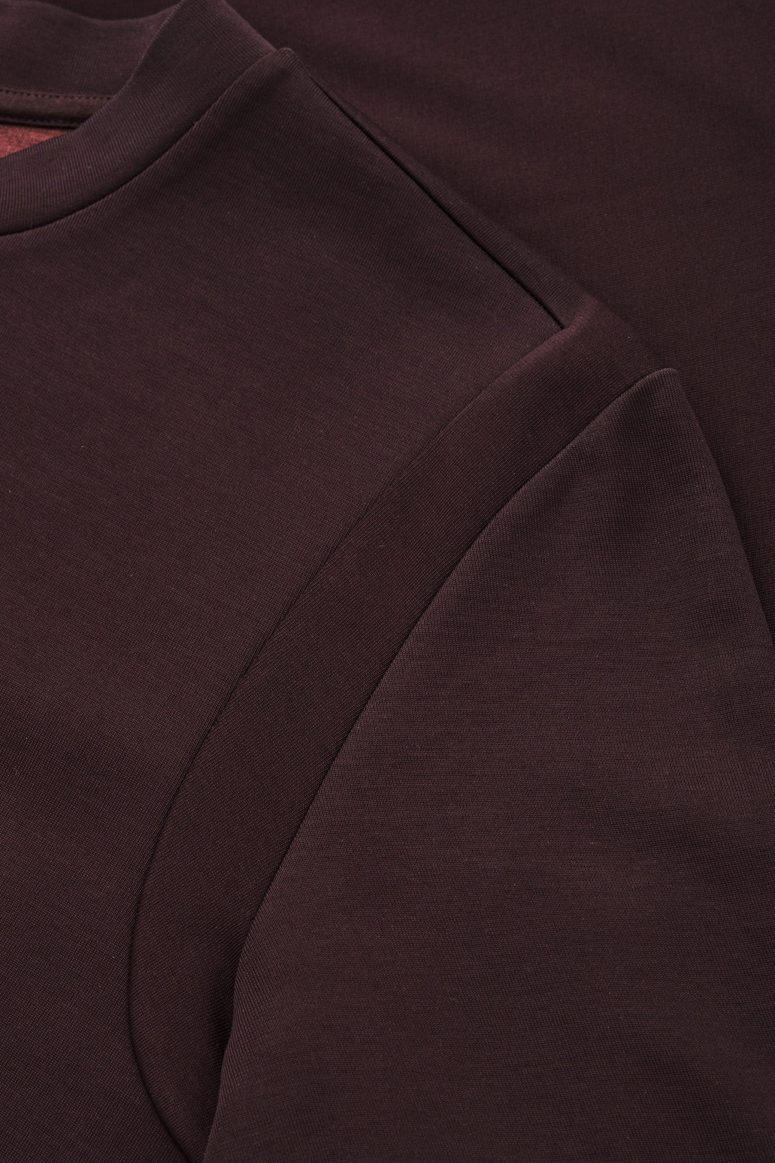 Side image of Cos jersey t-shirt with seam covers in brown