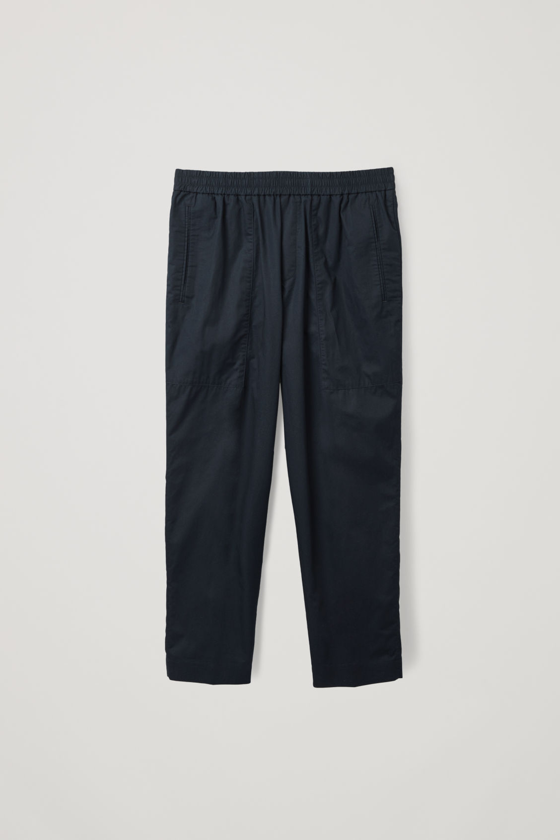 Front image of Cos cargo trousers with jet pockets in blue