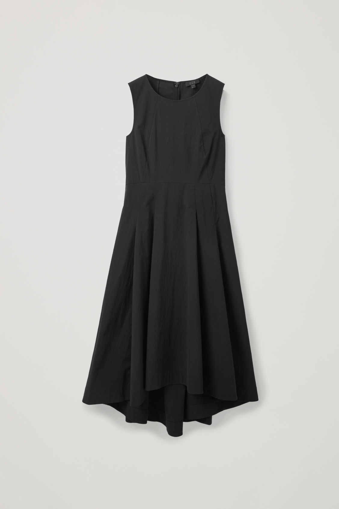 Front image of Cos waisted dress with pleats  in black