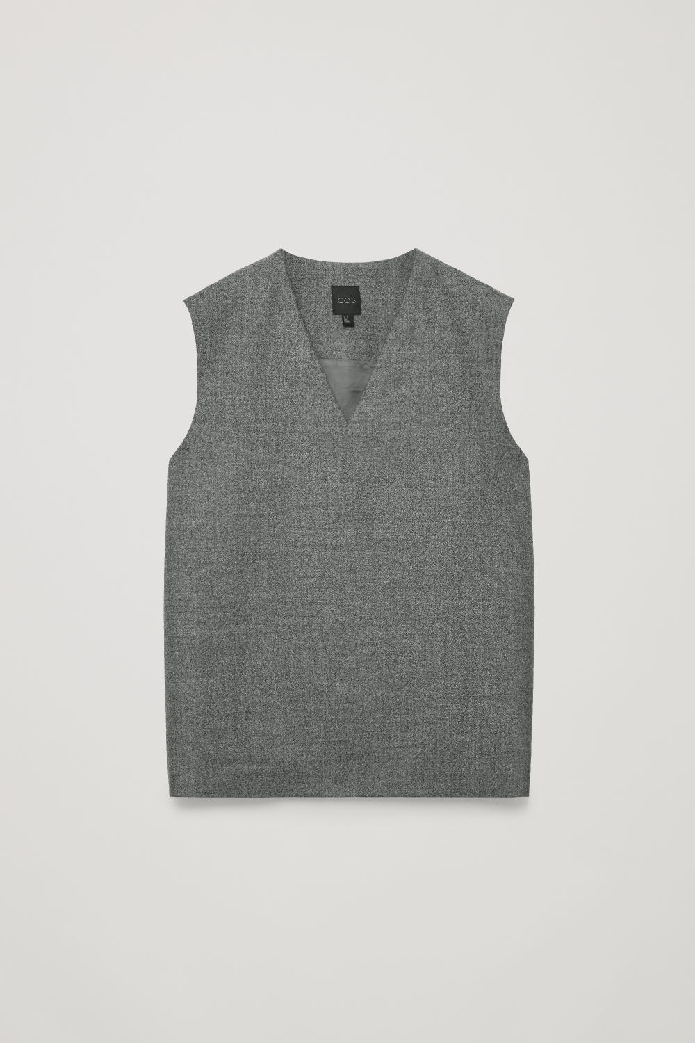 Front image of Cos woven v-neck vest in grey