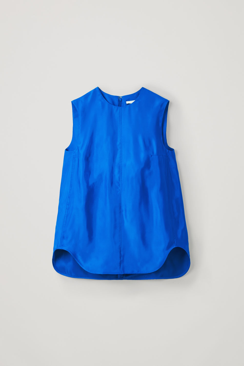 Front image of Cos topstitched sleeveless top in blue