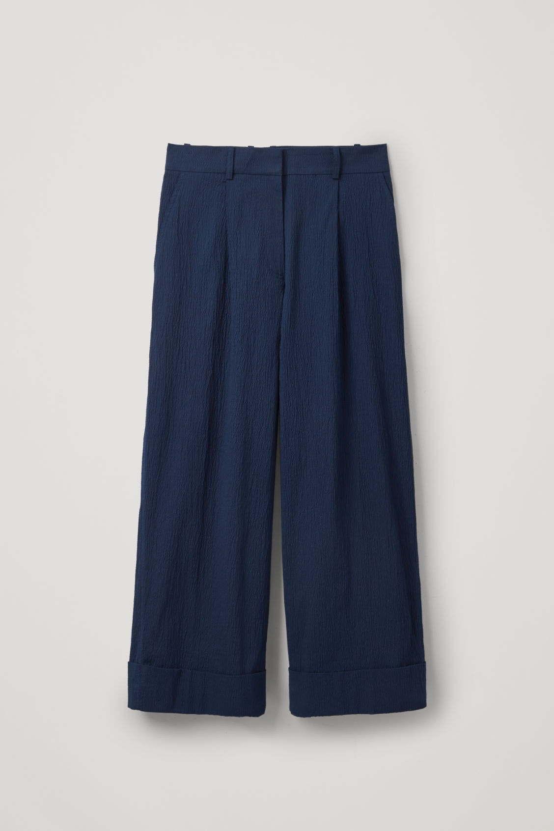 Front image of Cos wide-leg seersucker trousers in blue