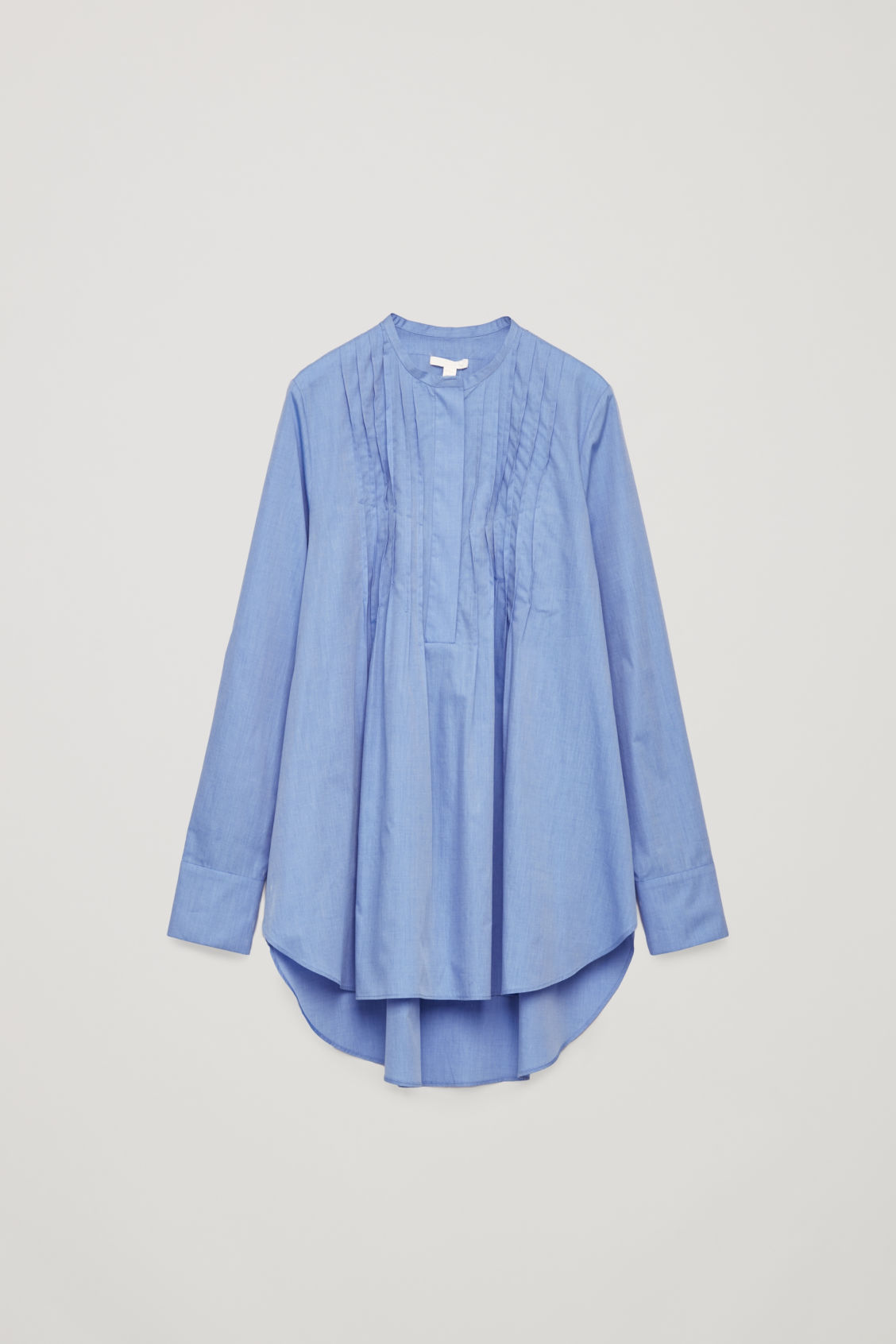 Front image of Cos pleated-front cotton shirt  in blue