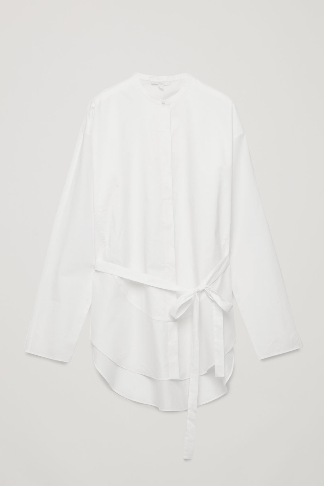 Front image of Cos tie-waist bib-front shirt in white