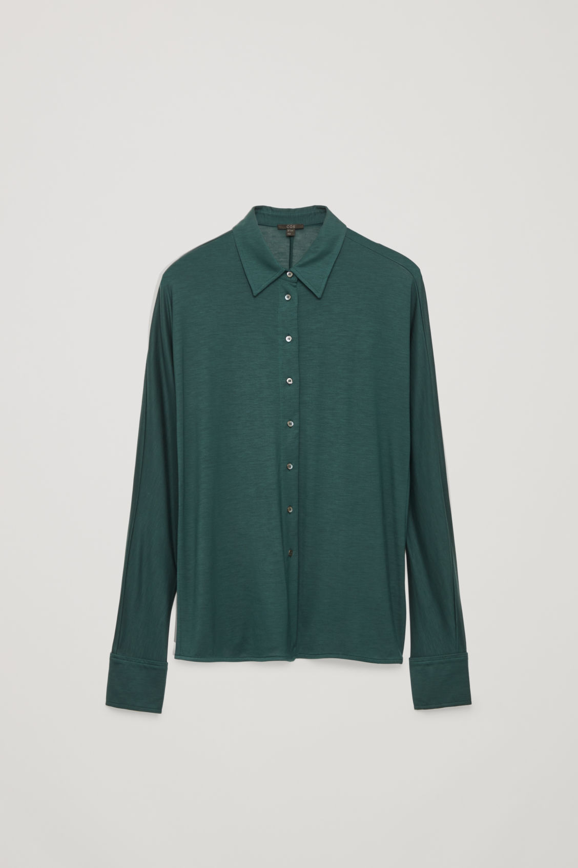 Front image of Cos batwing-sleeved jersey shirt in green