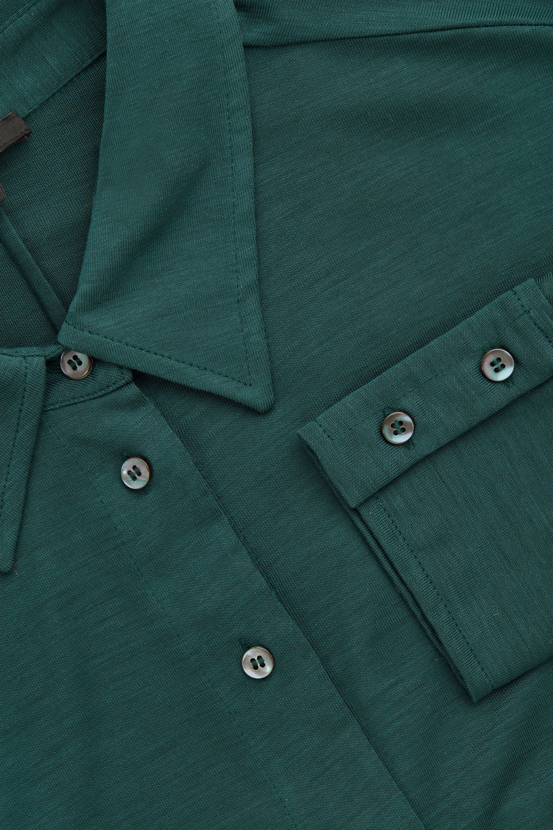 Side image of Cos batwing-sleeved jersey shirt in green