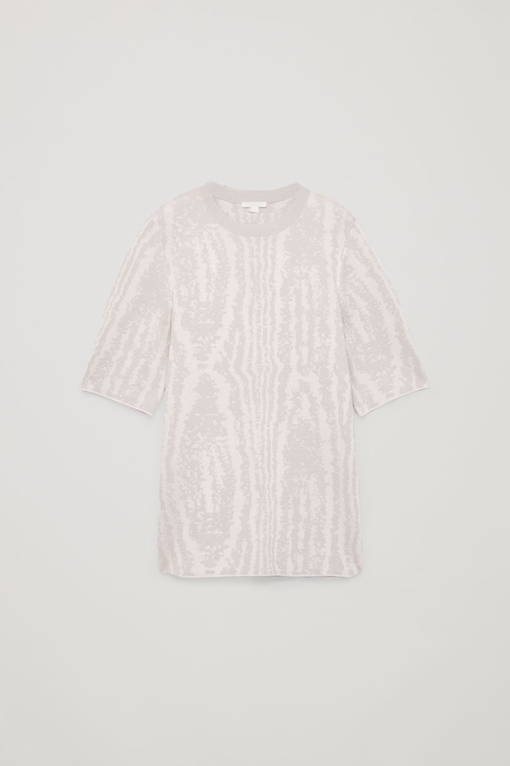 Front image of Cos moire jacquard-knit top in beige