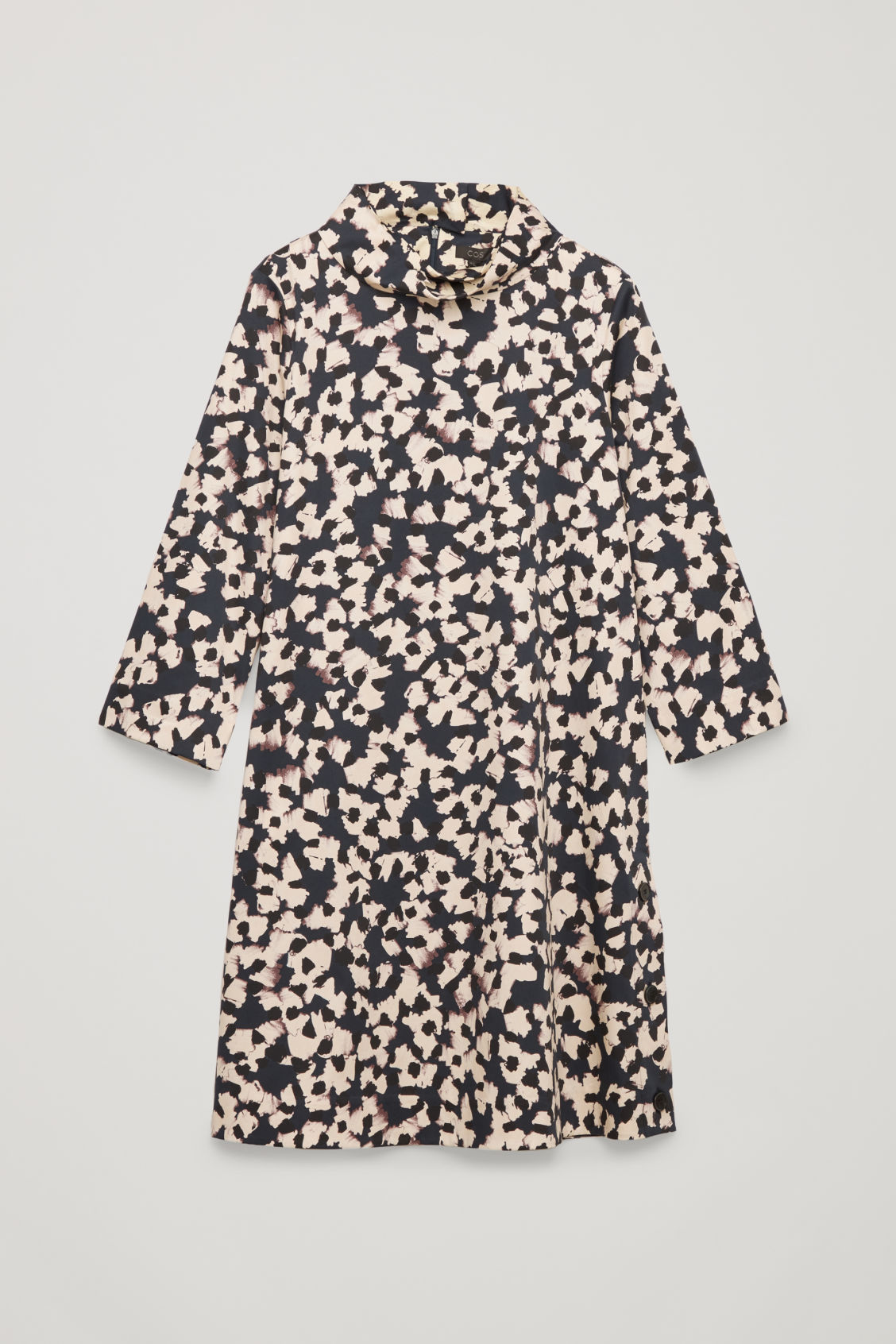 Front image of Cos stand-up collar printed dress in blue